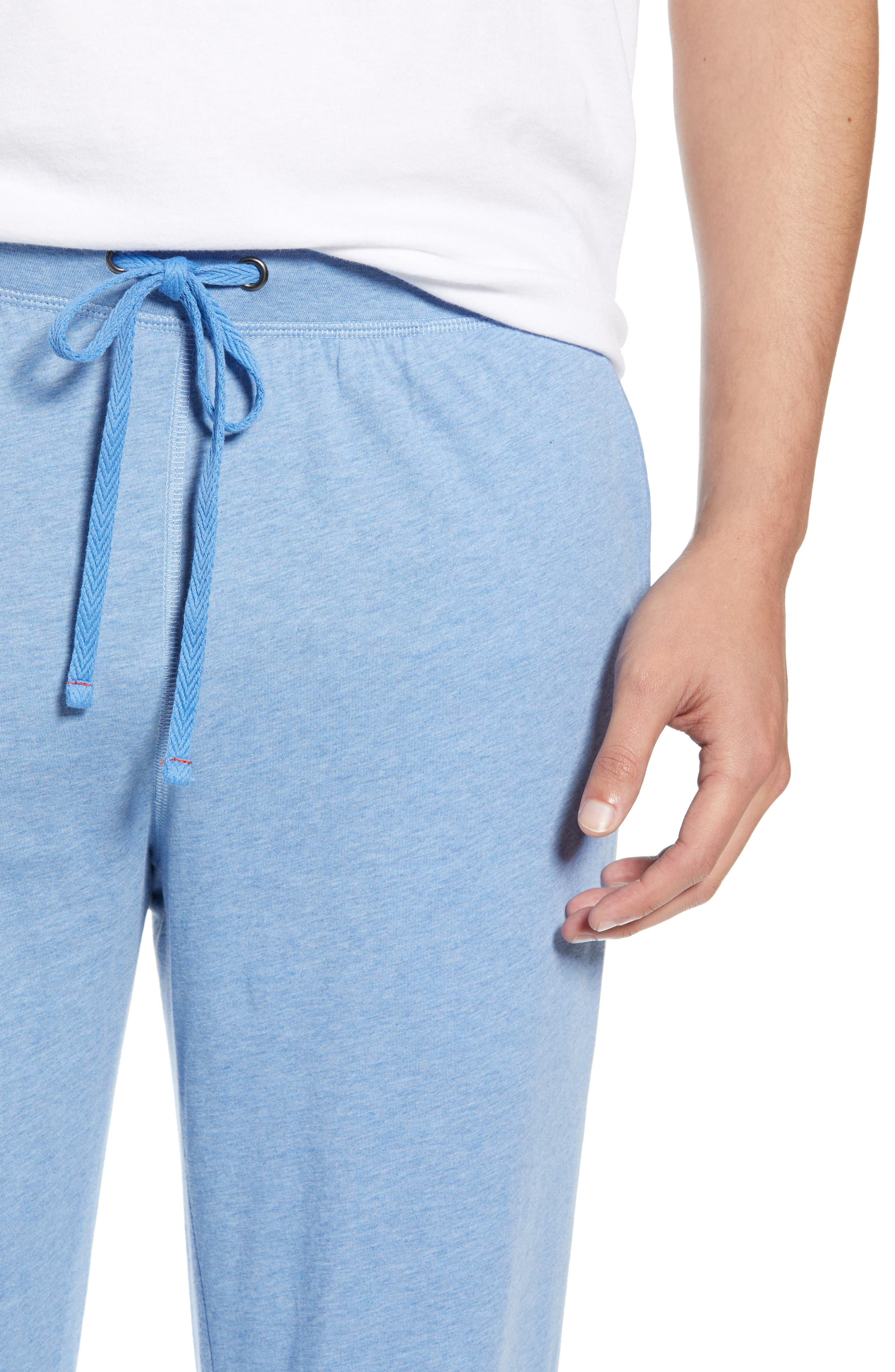 DANIEL BUCHLER, Peruvian Pima Lightweight Cotton Lounge Pants, Alternate thumbnail 4, color, BLUE HEATHER