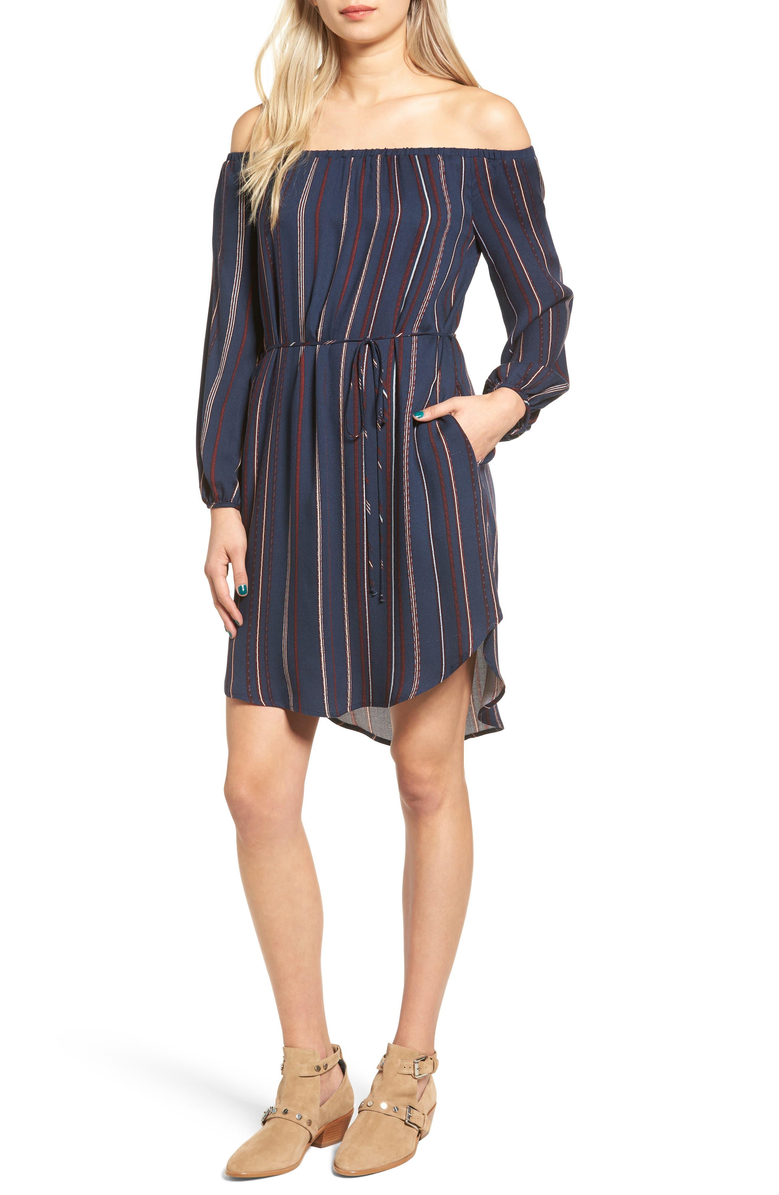 ---, Stripe Off the Shoulder Shirtdress, Main thumbnail 1, color, 400