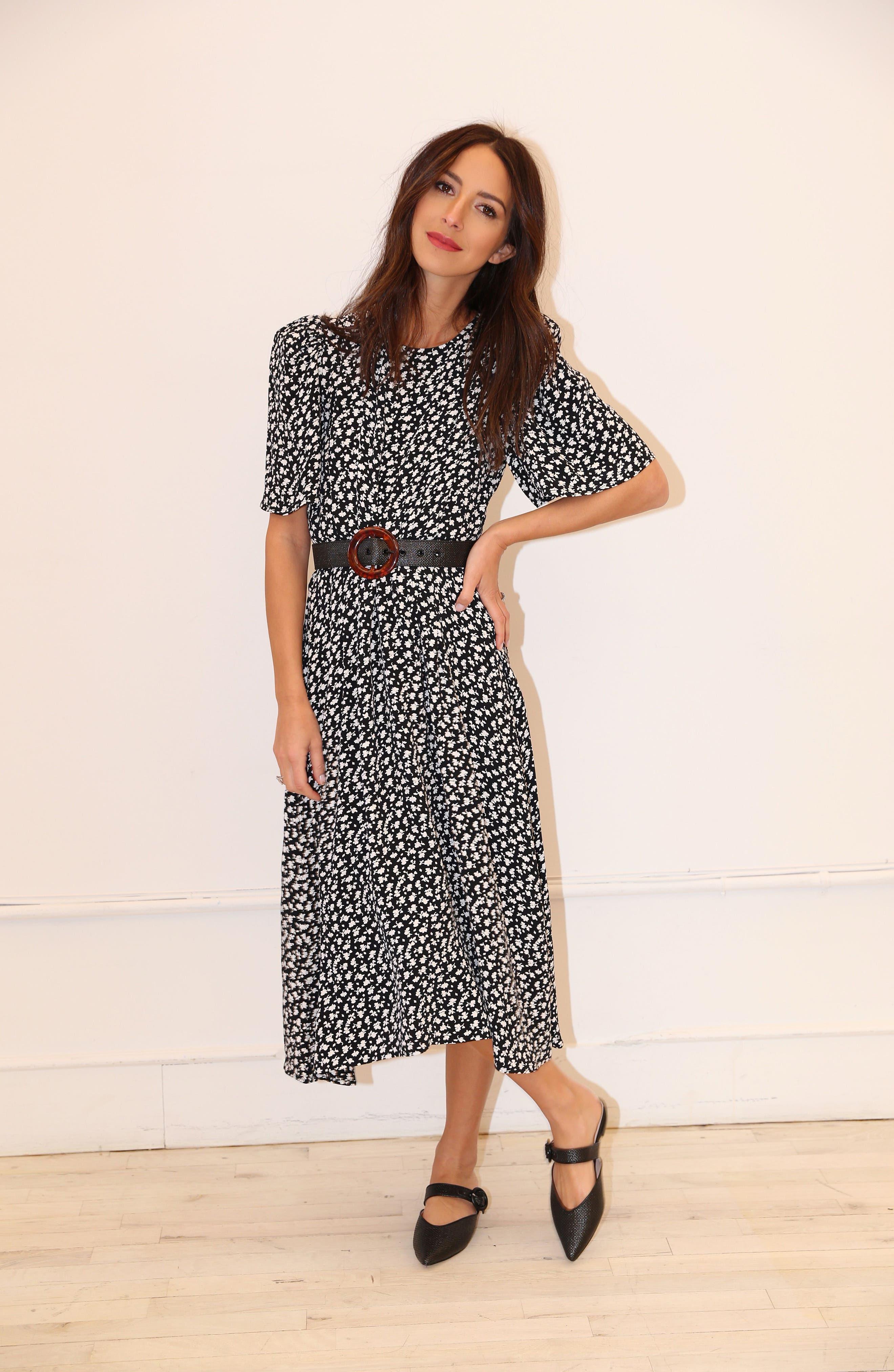 SOMETHING NAVY, Strong Shoulder Floral Print Midi Dress, Alternate thumbnail 9, color, SN BLACK VINTAGE FLORAL