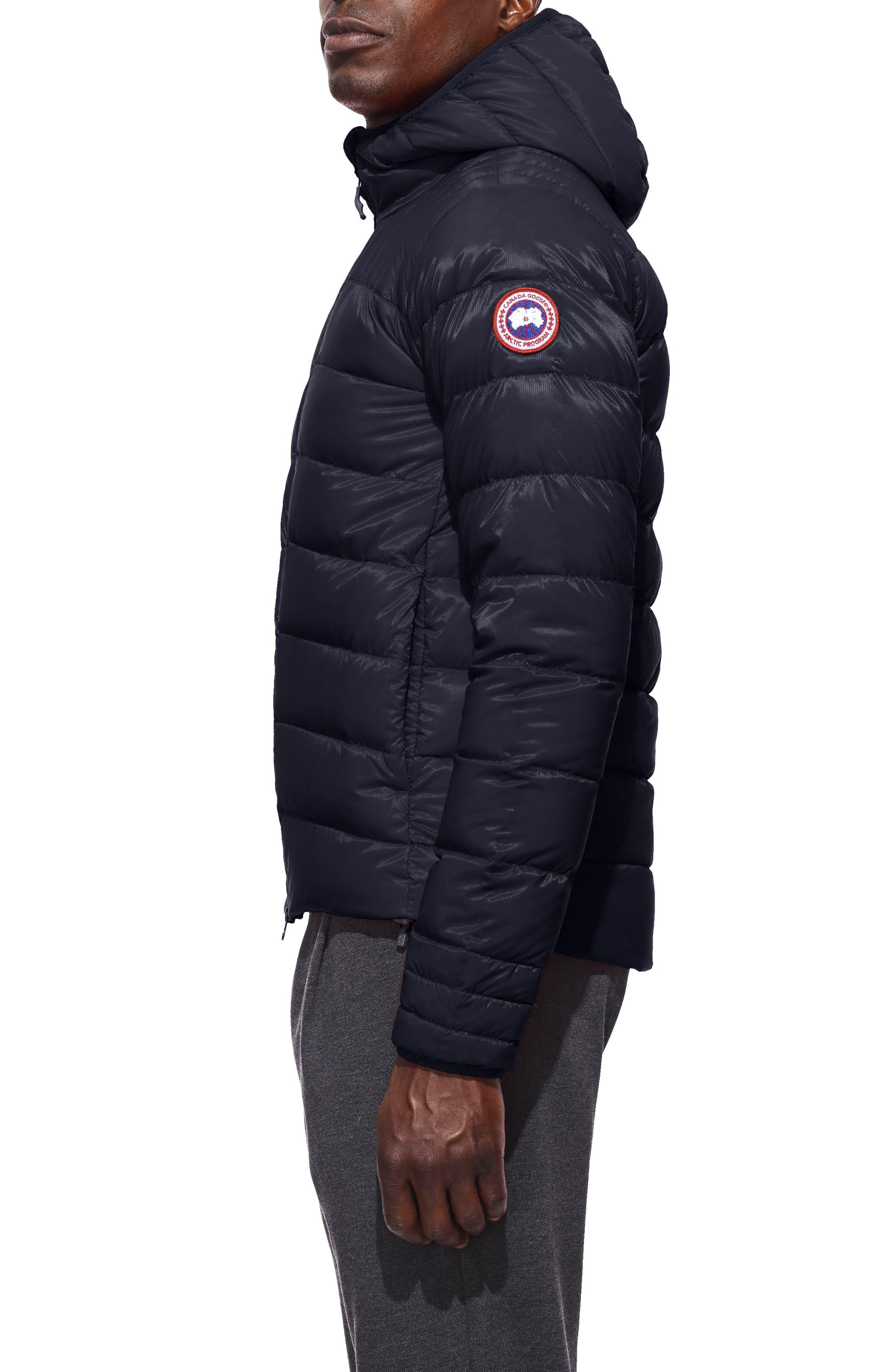CANADA GOOSE, Brookvale Slim Fit Hooded Down Jacket, Alternate thumbnail 4, color, ADMIRAL BLUE/ BLACK