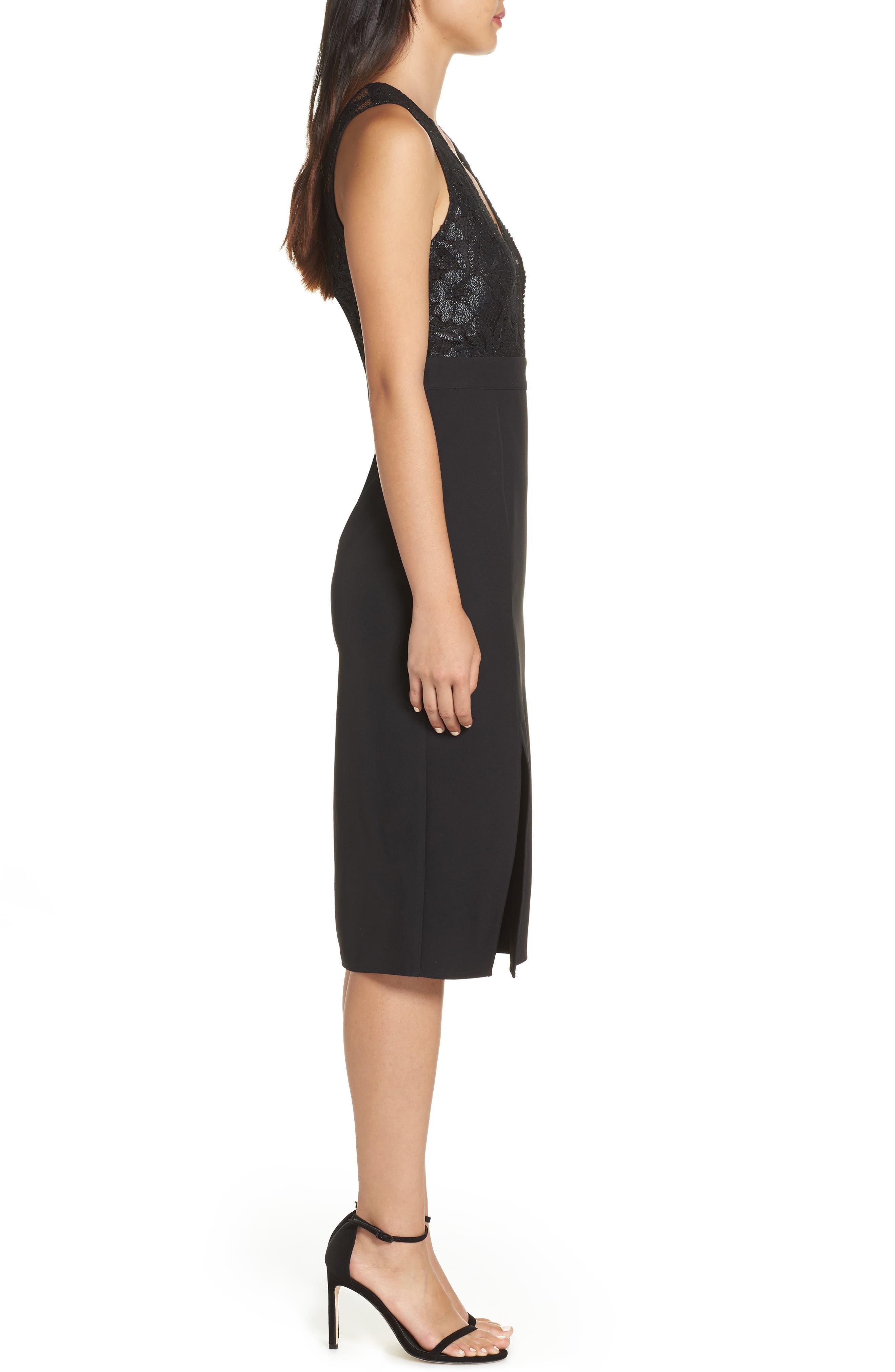 NSR, Kate V-Neck Lace Sheath Dress, Alternate thumbnail 4, color, 001