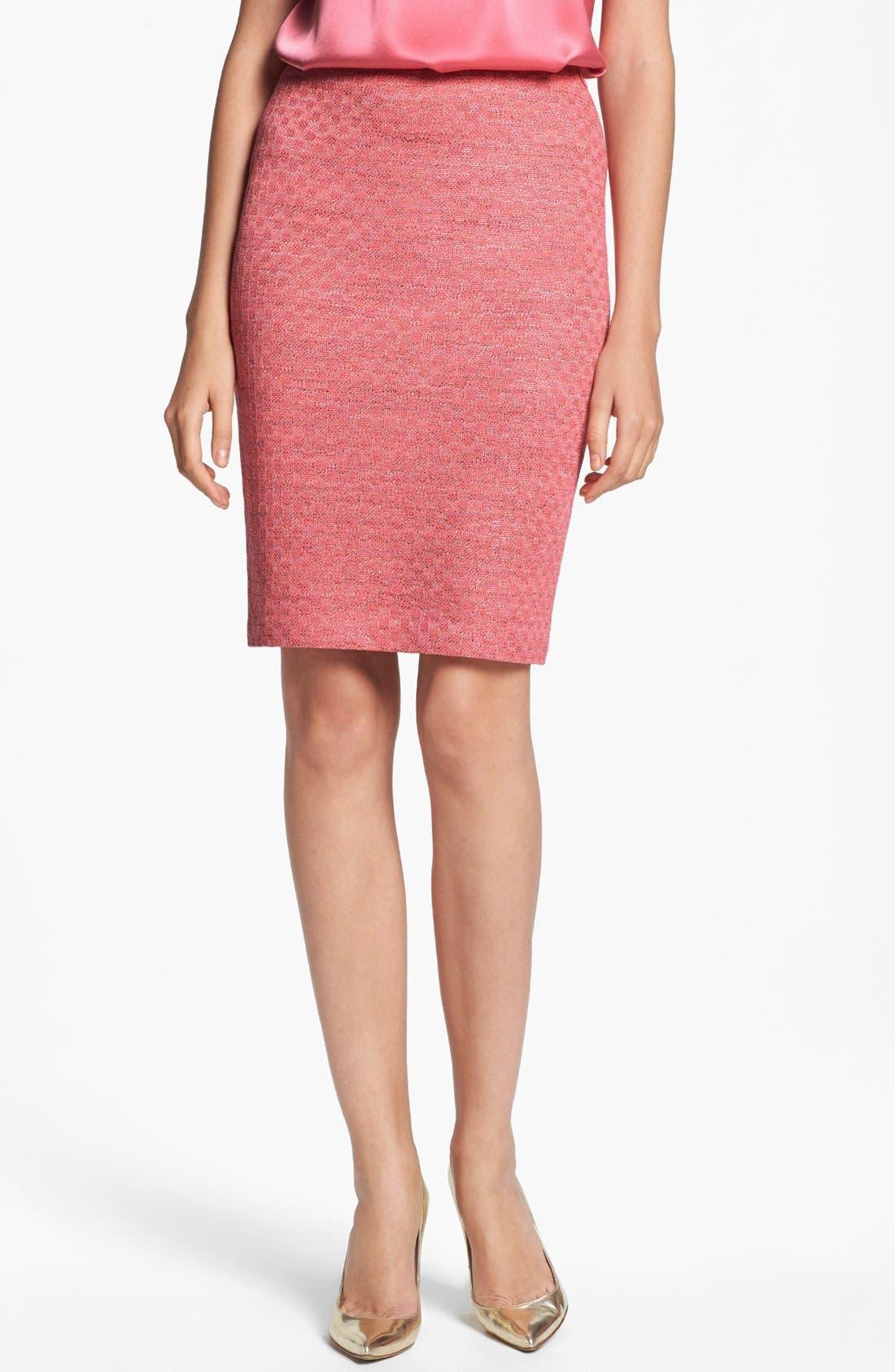 ST. JOHN COLLECTION, Damier Knit Pencil Skirt, Main thumbnail 1, color, 950