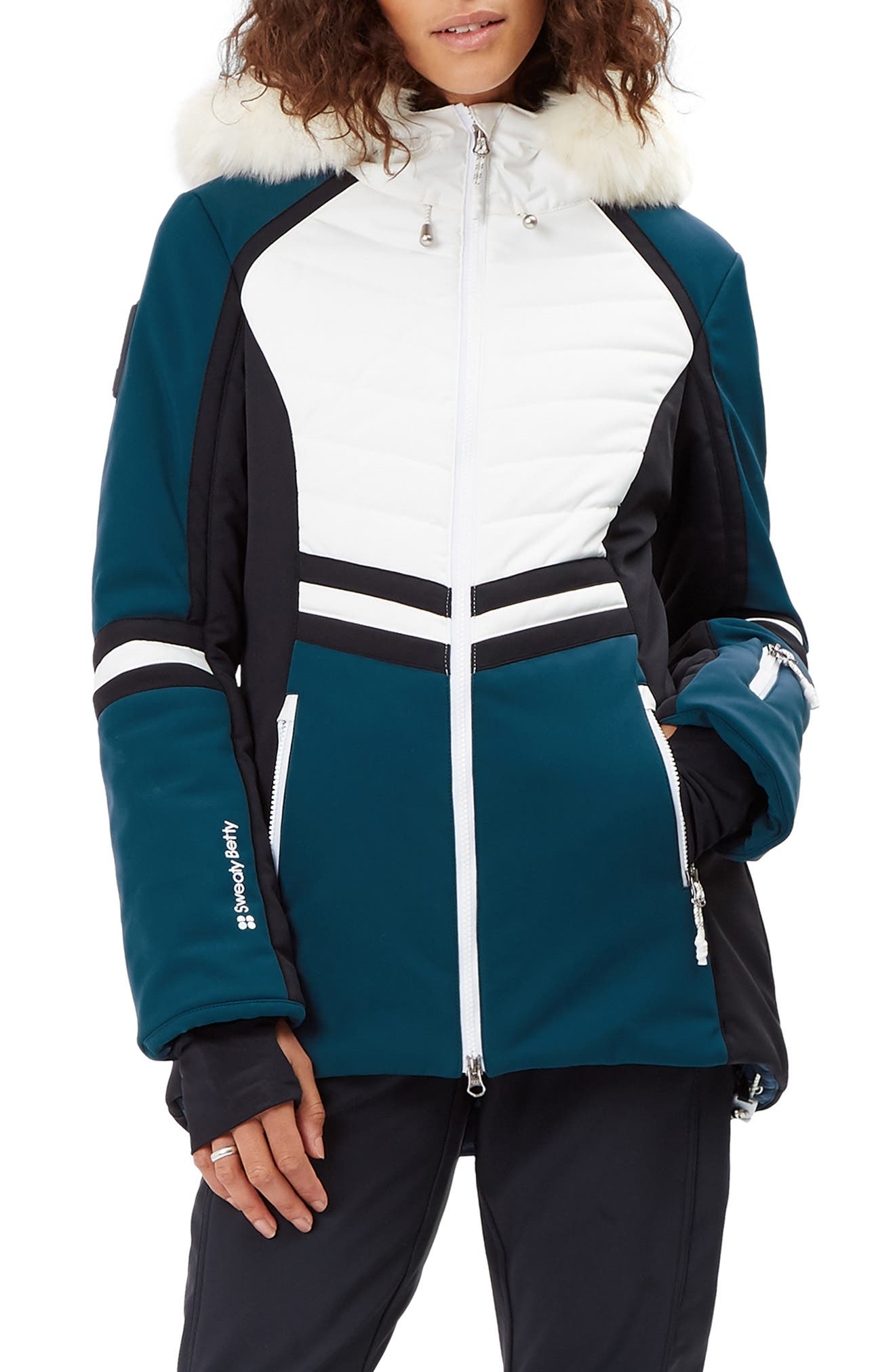 SWEATY BETTY, Method Hybrid Waterproof Ski Jacket with Faux Fur, Main thumbnail 1, color, BEETLE BLUE COLOUR BLOCK