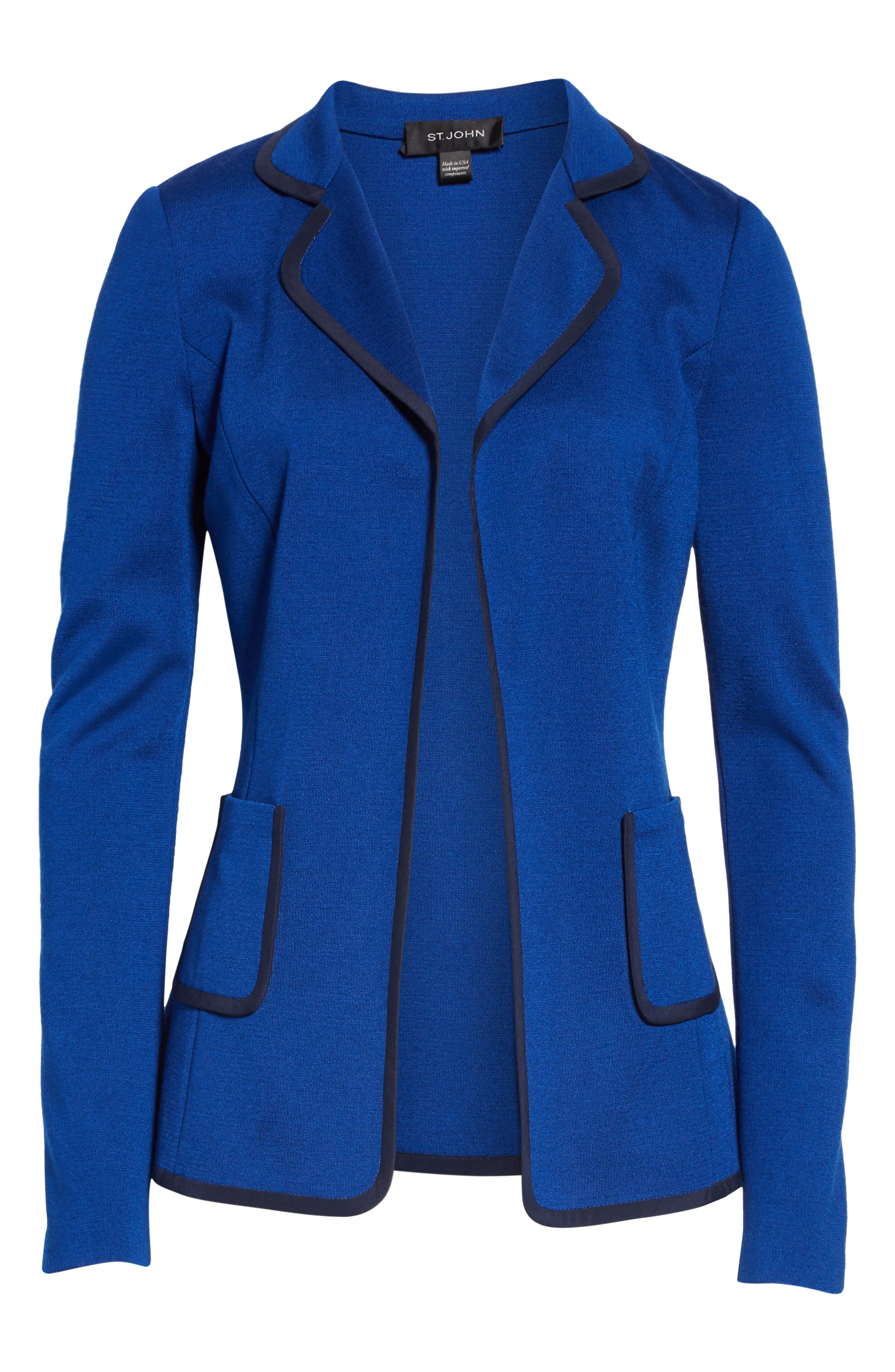 ST. JOHN COLLECTION, Patch Pocket Milano Knit Jacket, Alternate thumbnail 6, color, AZUL/ NAVY