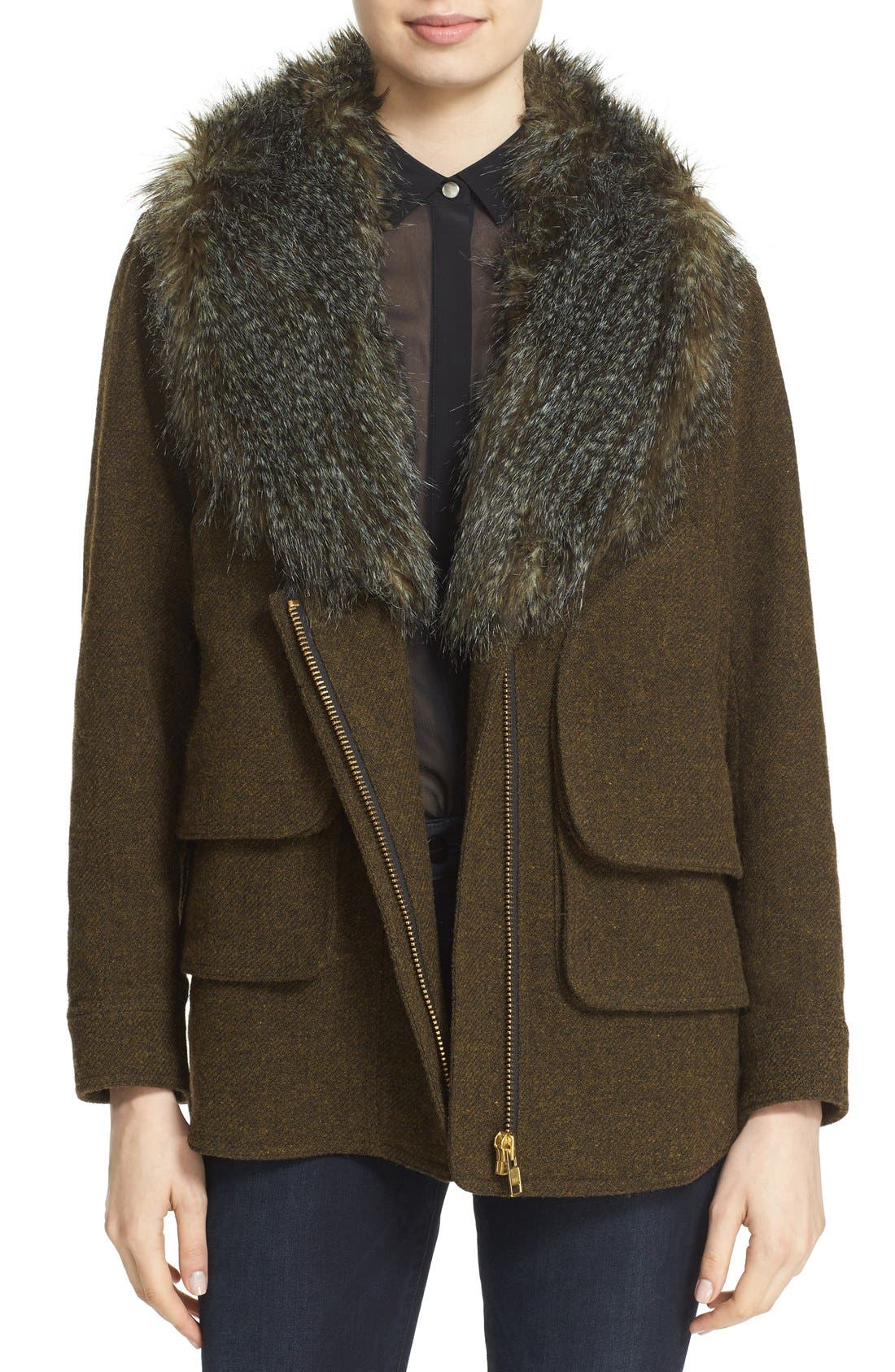 SMYTHE, 'Flak' Wool Blend Jacket with Removable Faux Fur Collar, Main thumbnail 1, color, 300