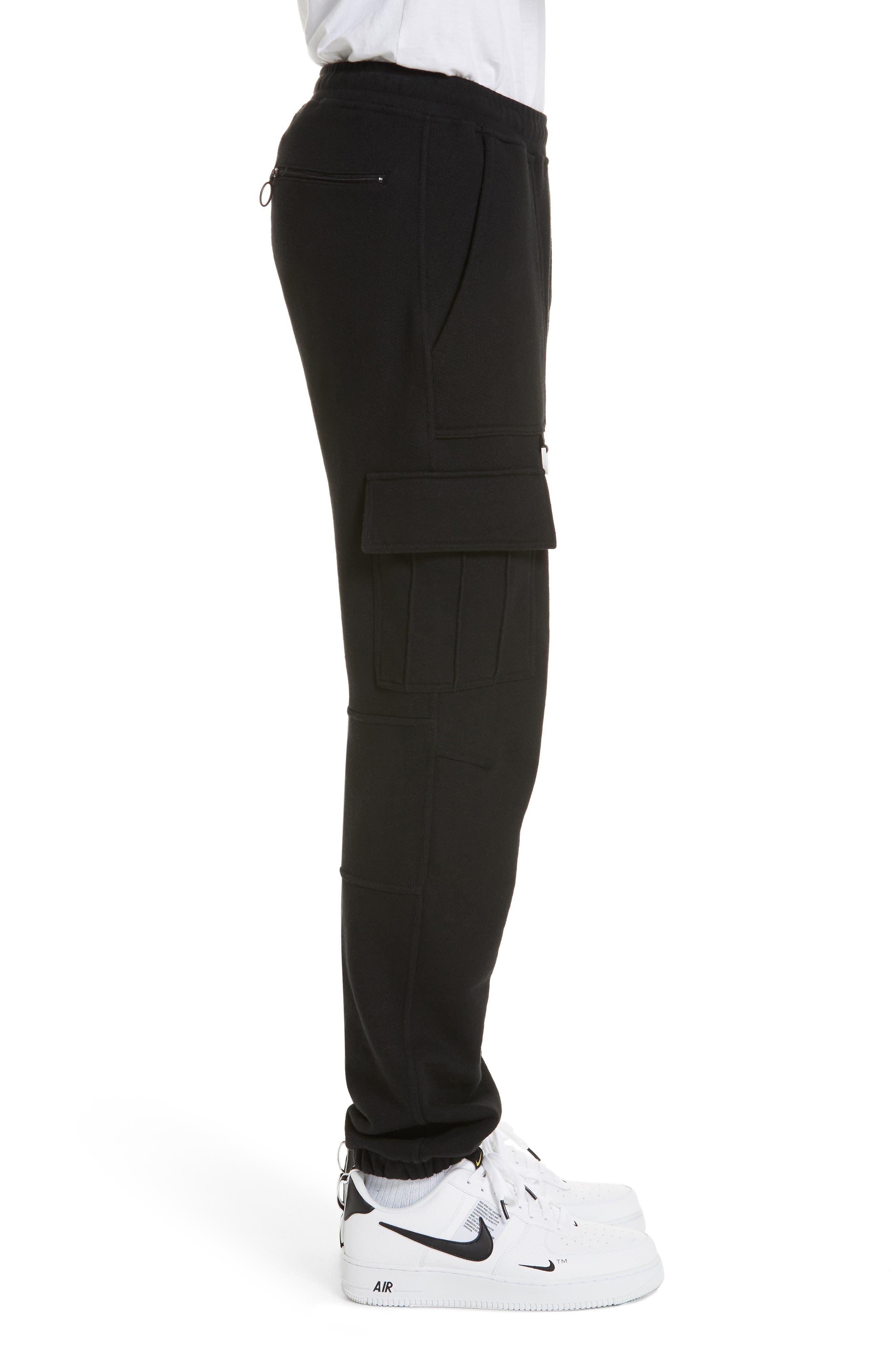 OFF-WHITE, Cargo Jogger Pants, Alternate thumbnail 3, color, BLACK