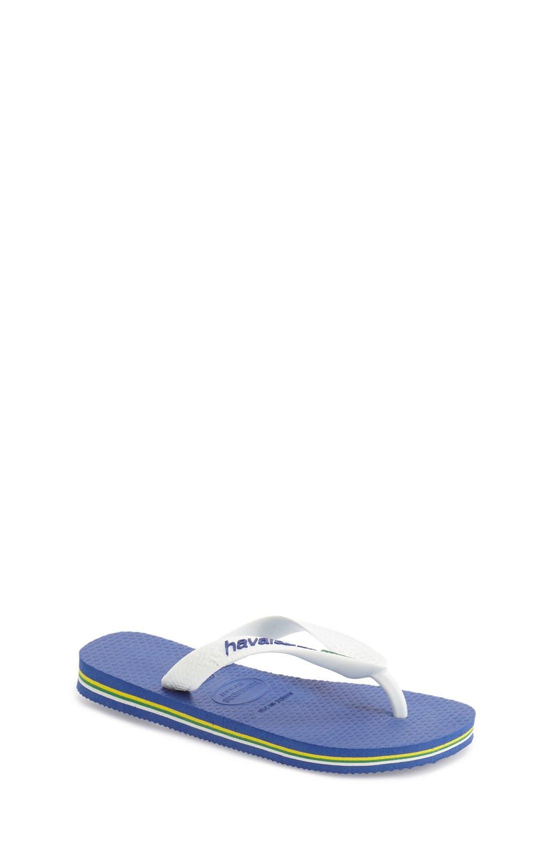 HAVAIANAS, 'Brazil Logo' Flip Flop, Main thumbnail 1, color, BLUE