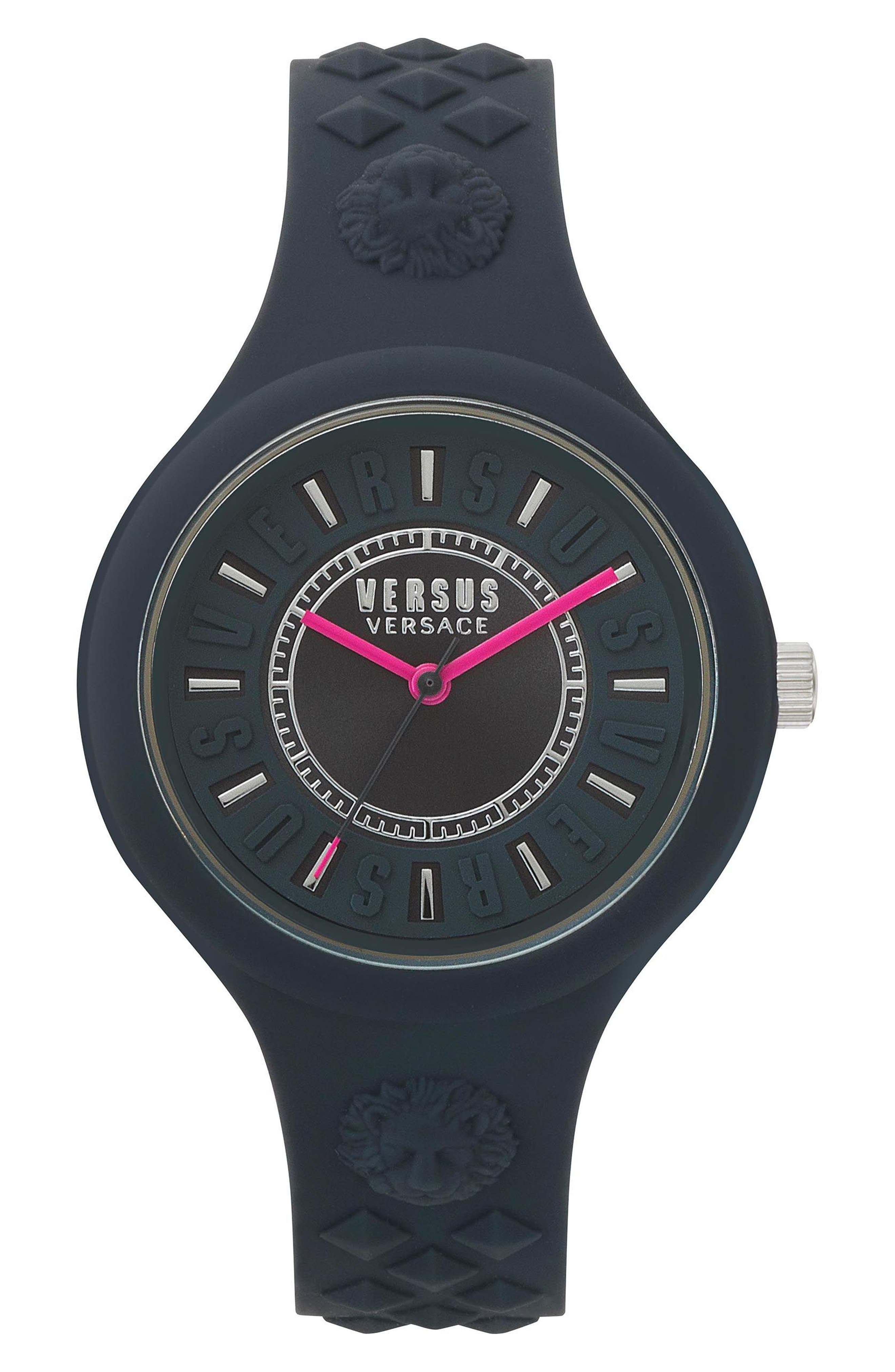 VERSUS VERSACE Fire Island Silicone Strap Watch, 39mm, Main, color, GREY/ FUCHSIA