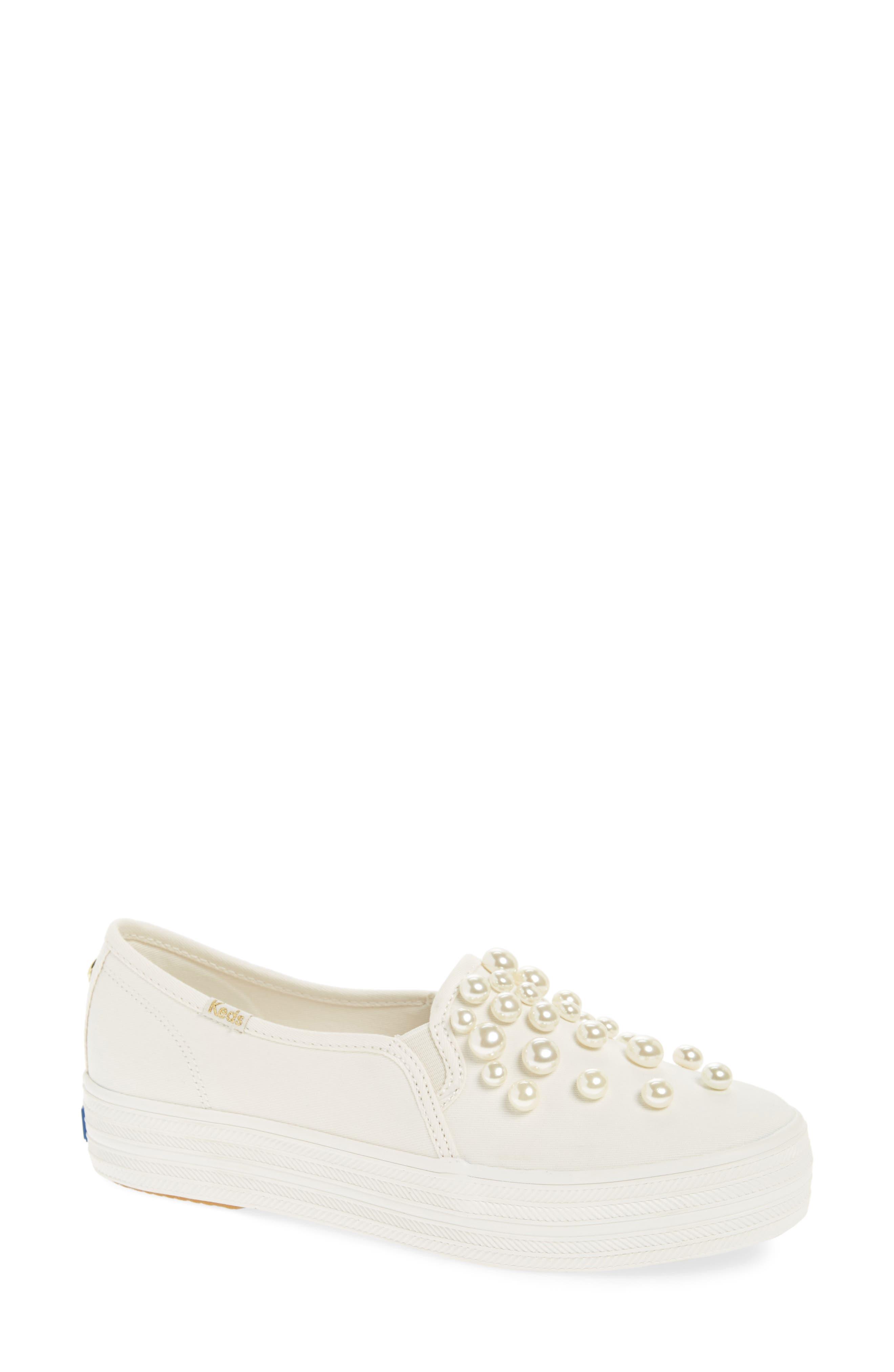 KEDS<SUP>®</SUP> FOR KATE SPADE NEW YORK triple decker embellished slip-on sneaker, Main, color, CREAM