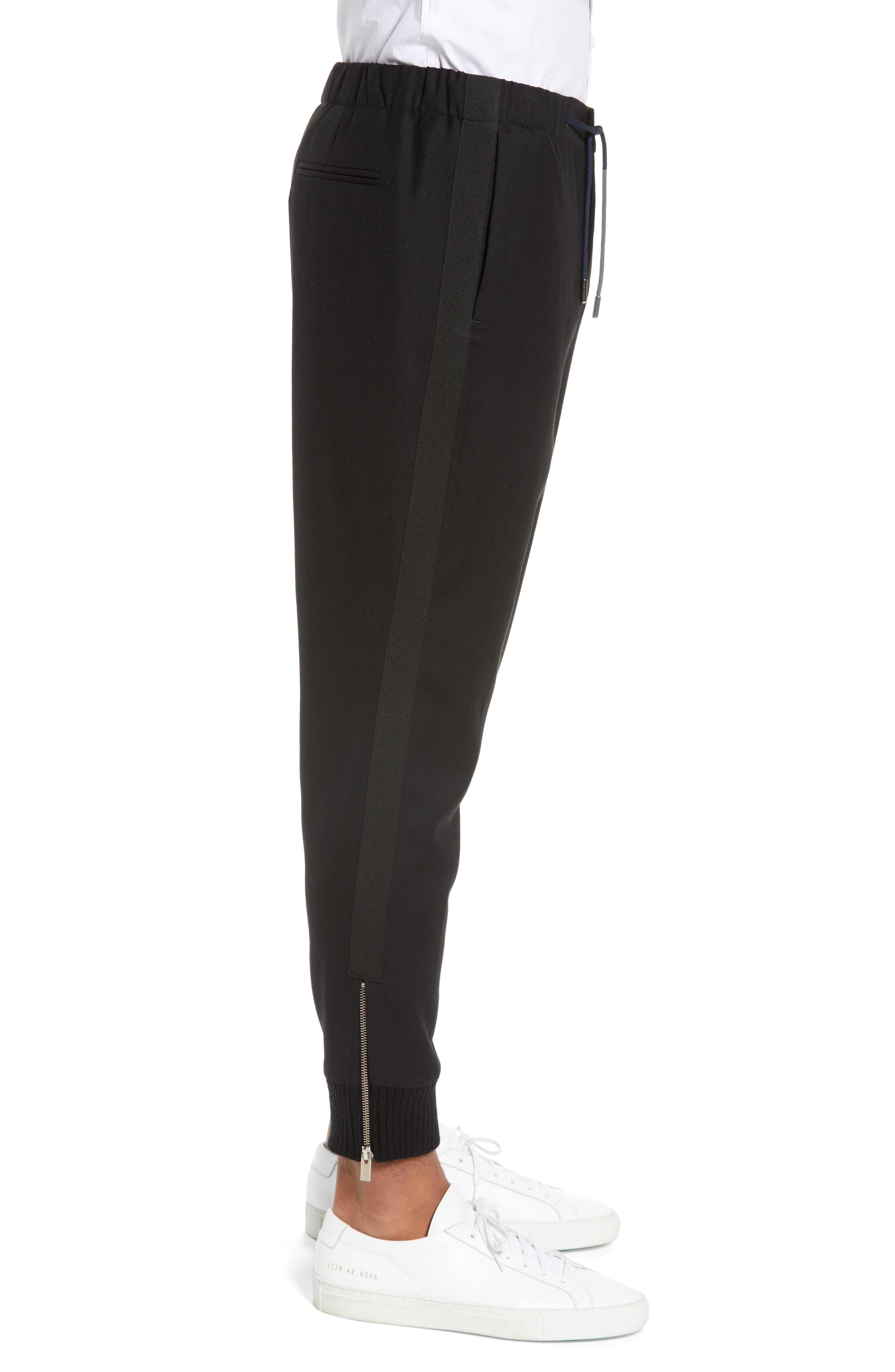 THE KOOPLES, Straight Leg Woven Jogger Pants, Alternate thumbnail 4, color, BLACK