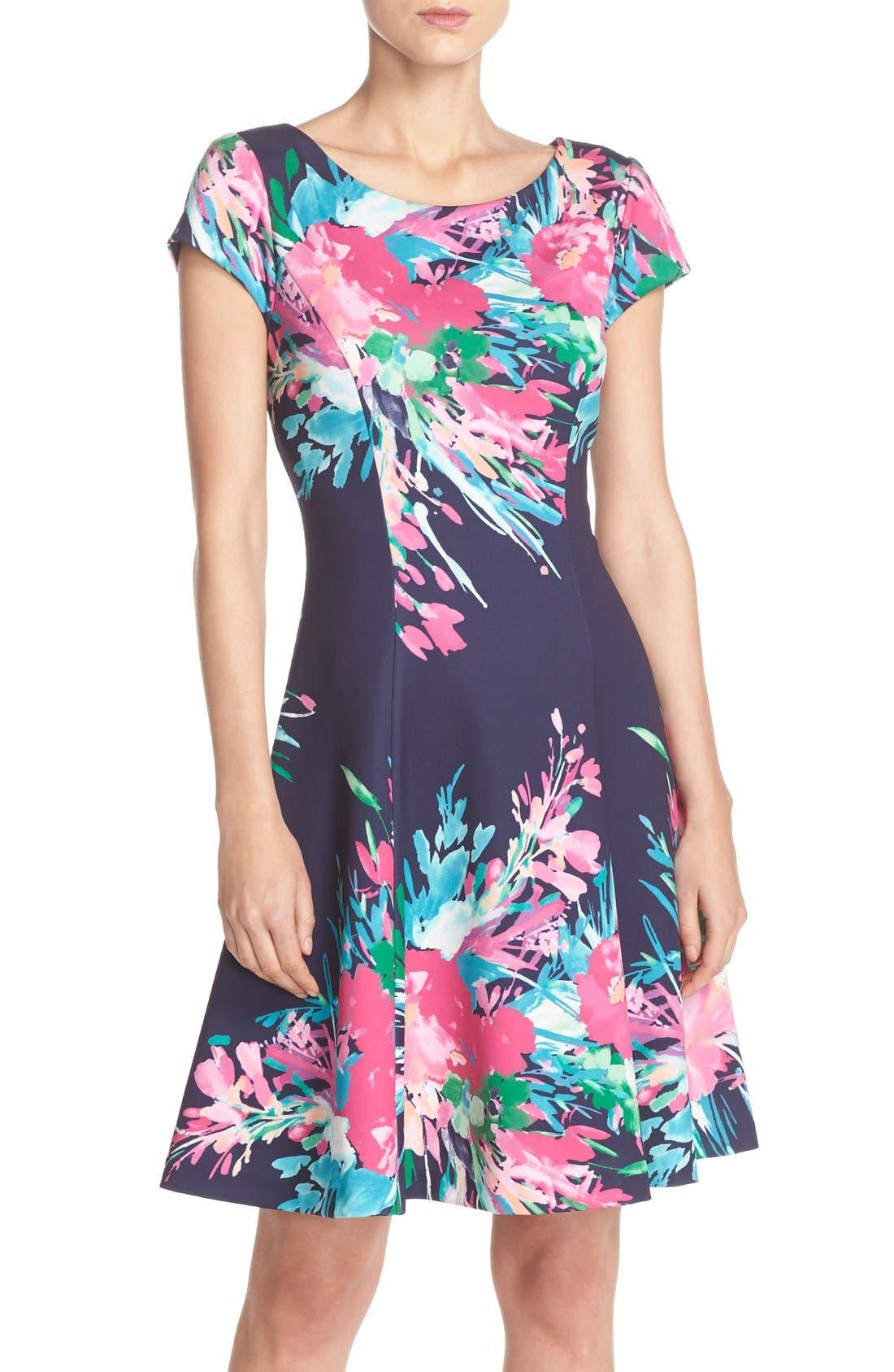 ELIZA J, Floral Print Scuba Fit & Flare Dress, Main thumbnail 1, color, 470
