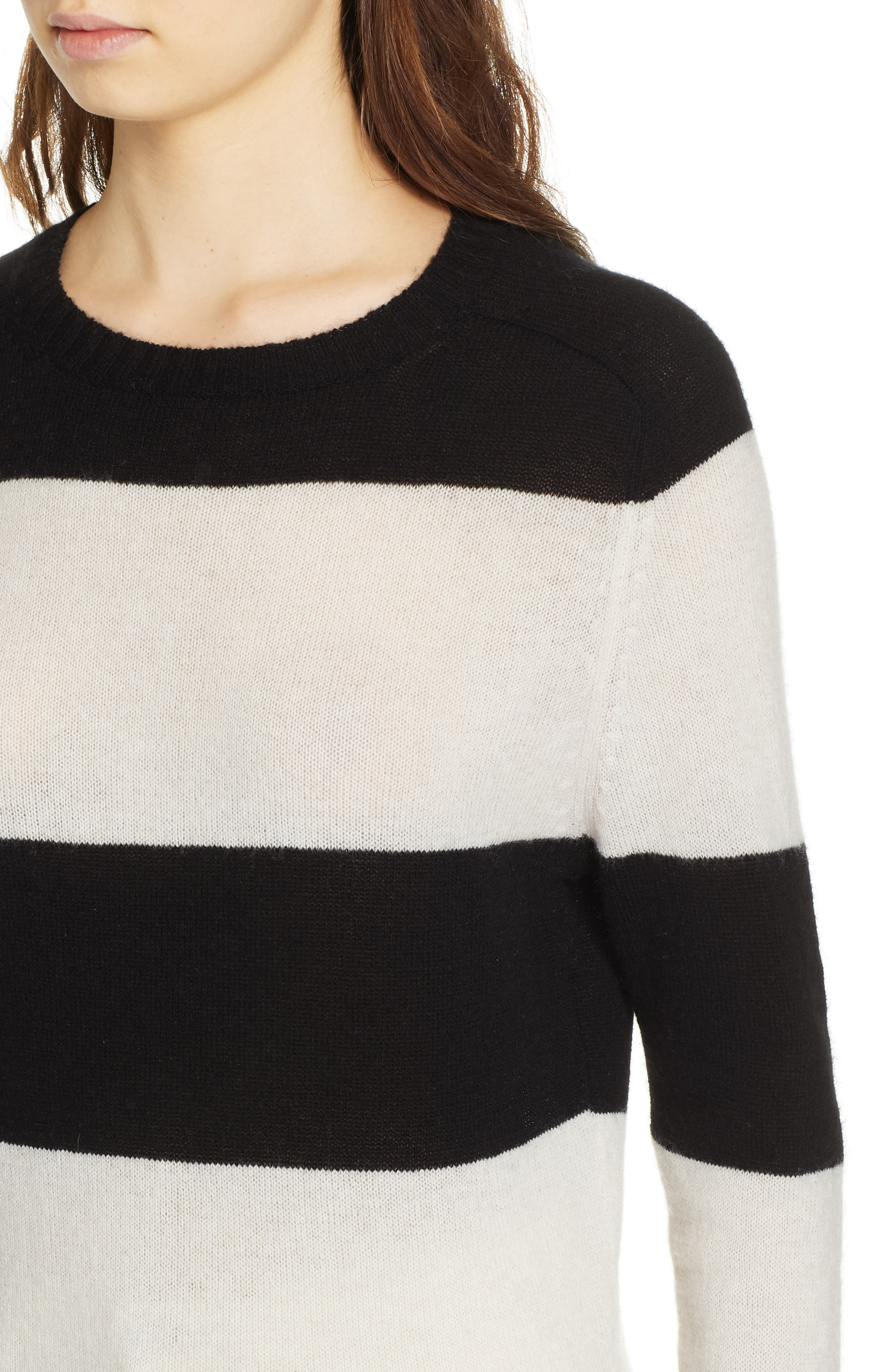 RE/DONE, Stripe Wool & Cashmere Sweater, Alternate thumbnail 4, color, BLACK/ IVORY