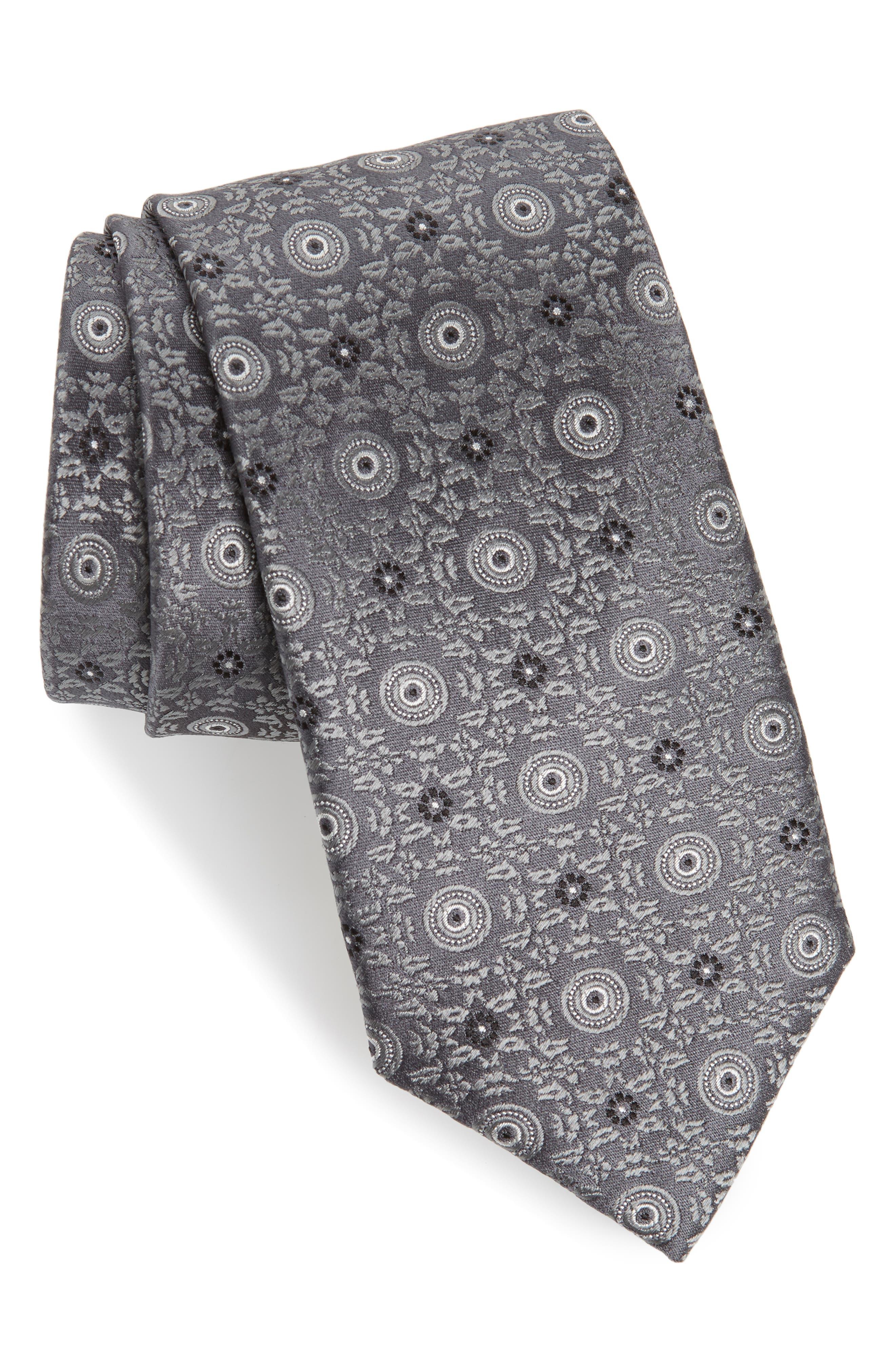 CANALI, Medallion Silk Tie, Main thumbnail 1, color, GREY