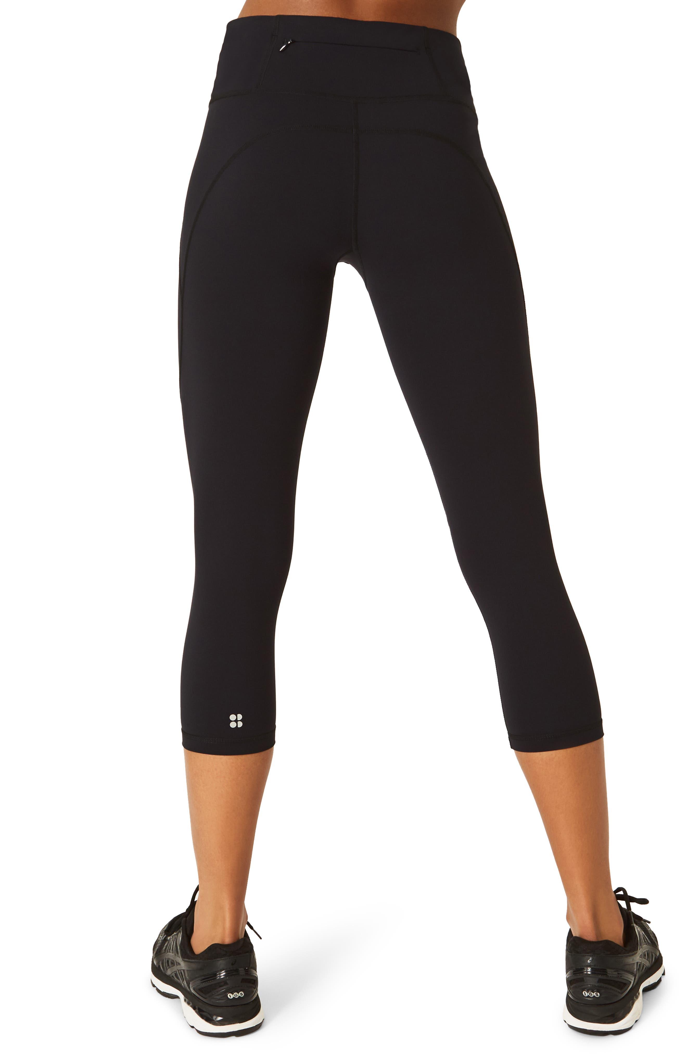 SWEATY BETTY, Power Workout Crop Leggings, Alternate thumbnail 2, color, BLACK