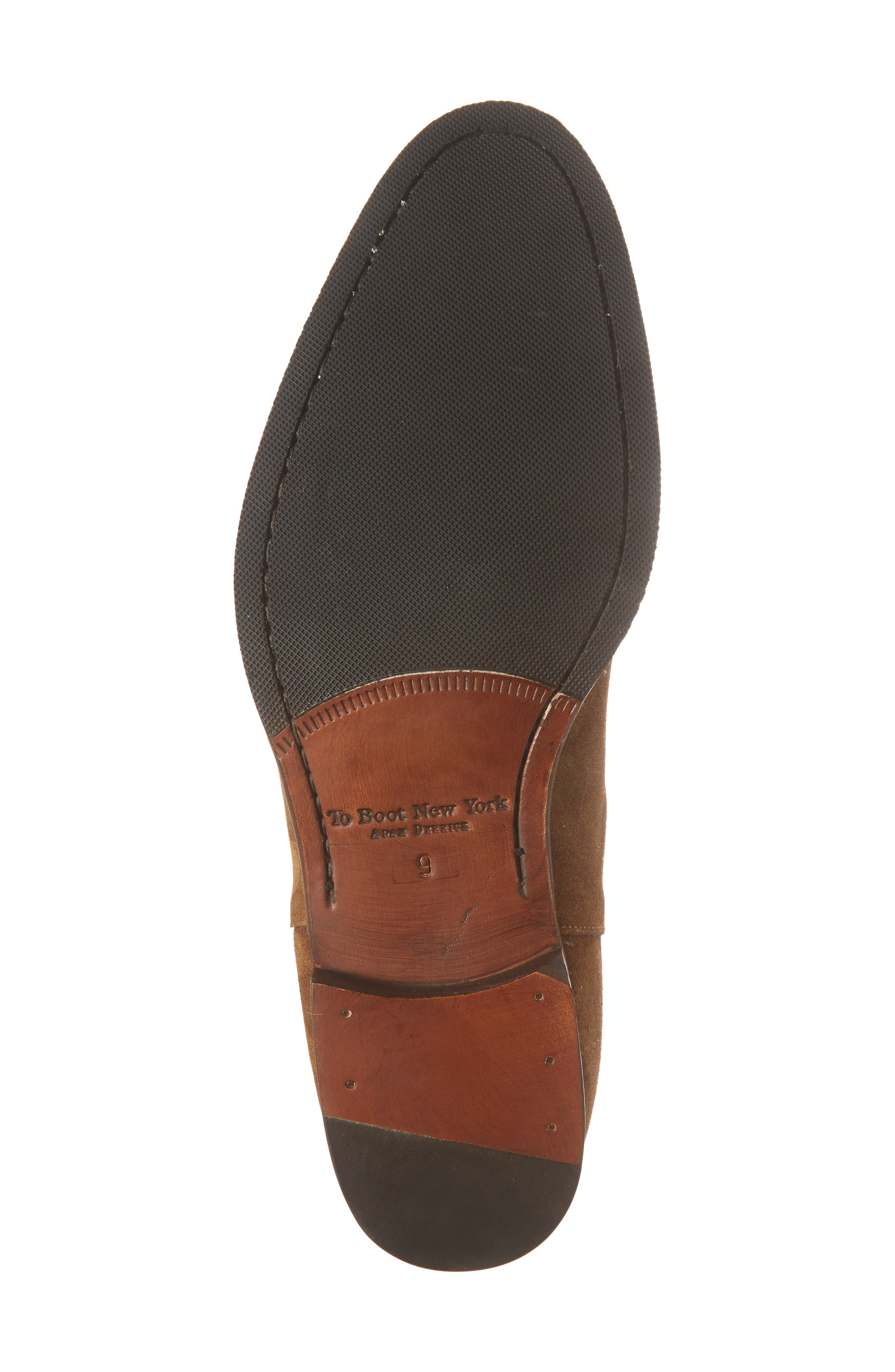 TO BOOT NEW YORK, Shelby Mid Chelsea Boot, Alternate thumbnail 6, color, MID BROWN SUEDE