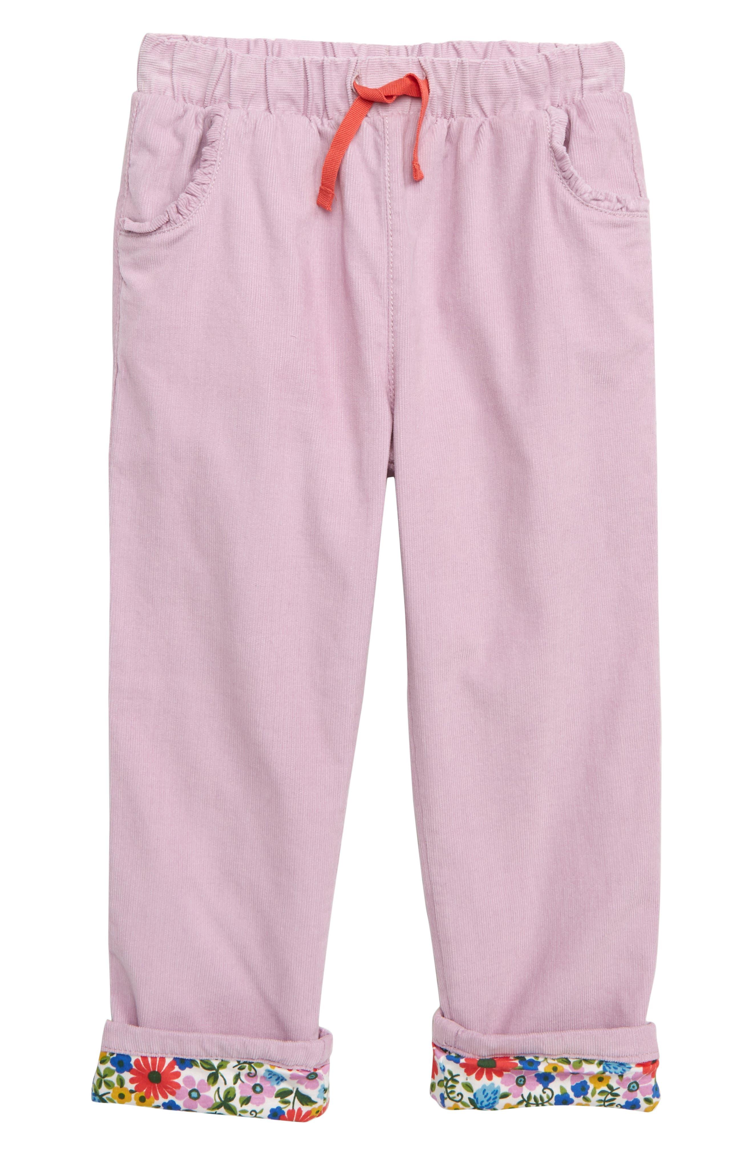 MINI BODEN Pretty Pocket Corduroy Pants, Main, color, DELPHINIUM PURPLE STRAWBERRY