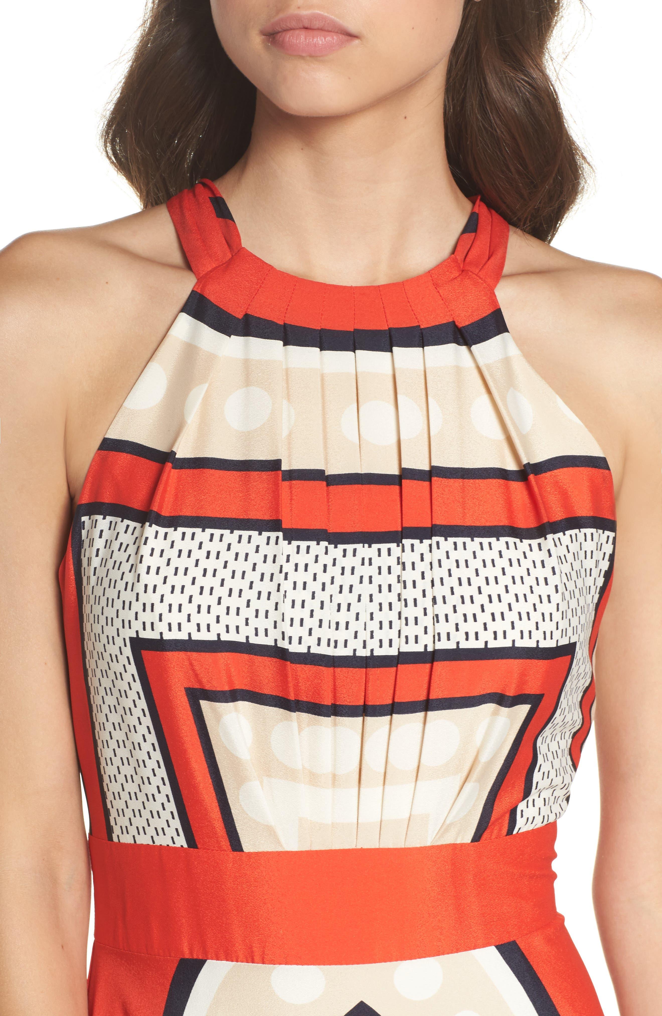 ELIZA J, Scarf Print Crêpe de Chine Fit & Flare Maxi Dress, Alternate thumbnail 6, color, MULTI