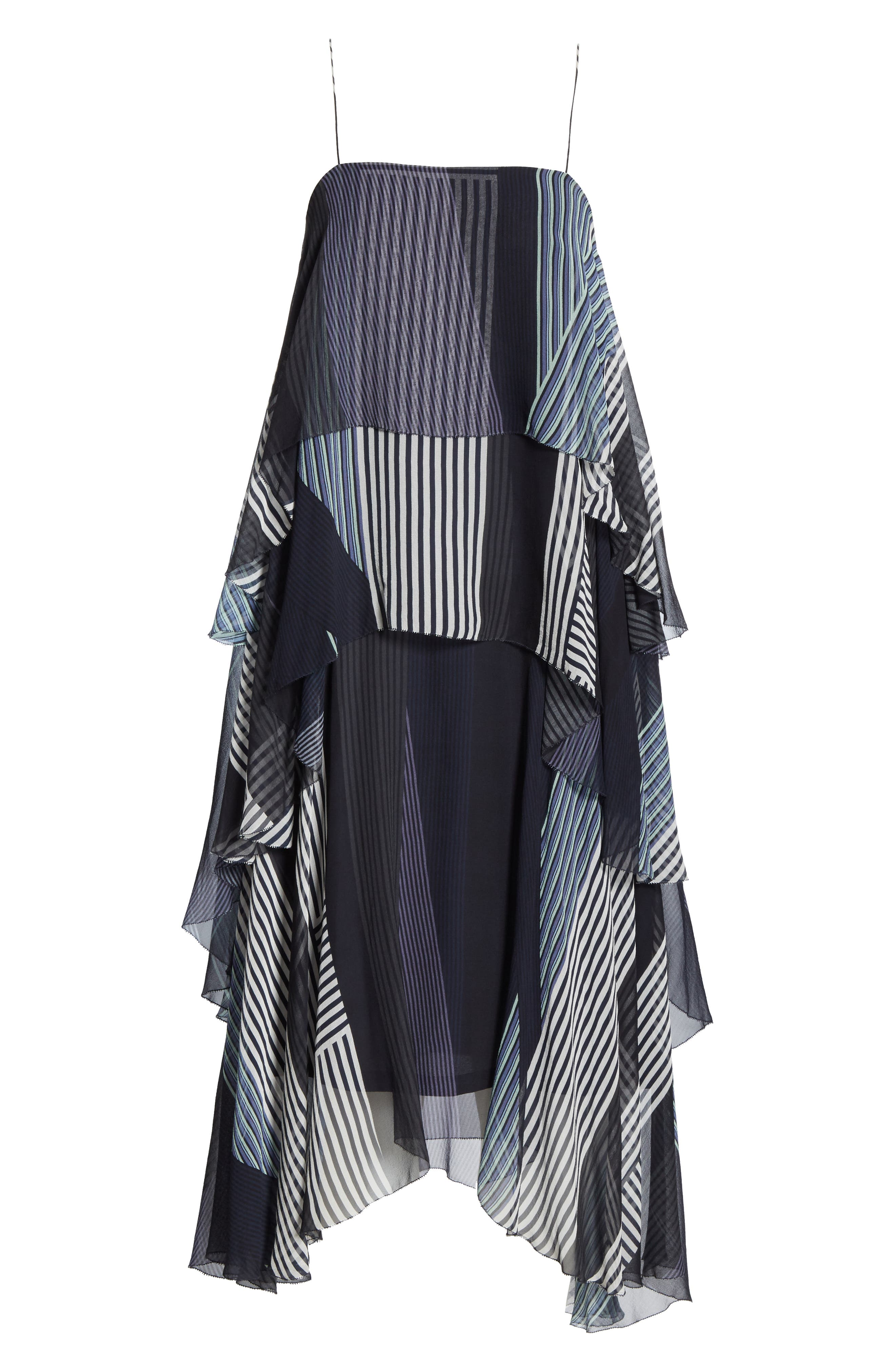 JASON WU, Collage Stripe Silk Tiered Dress, Alternate thumbnail 6, color, DARK NAVY MULTI