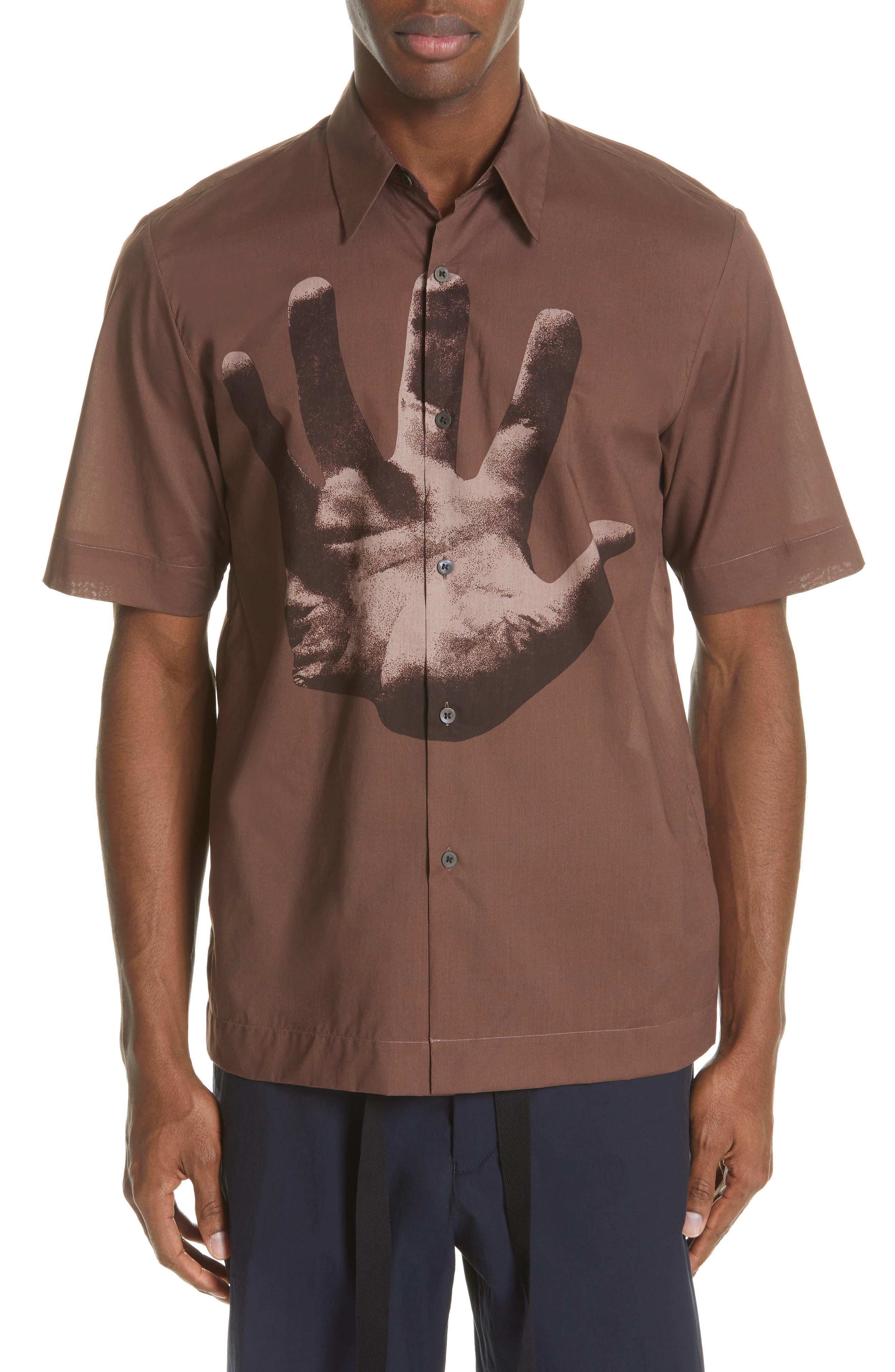 DRIES VAN NOTEN, Clasen Hand Print Shirt, Main thumbnail 1, color, BROWN