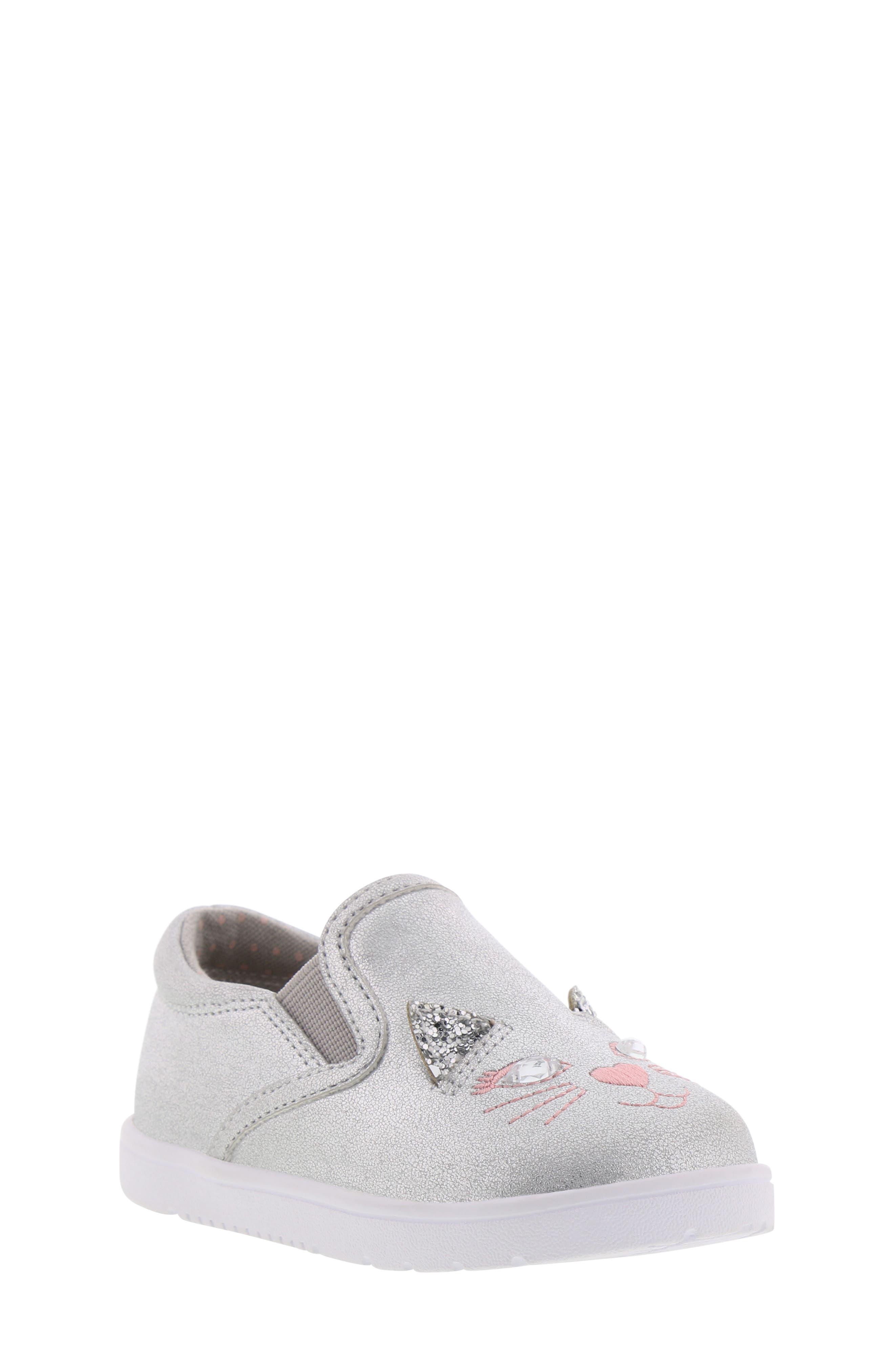 BØRN, Bailey Jaslyna Slip-On Glitter Sneaker, Main thumbnail 1, color, SILVER