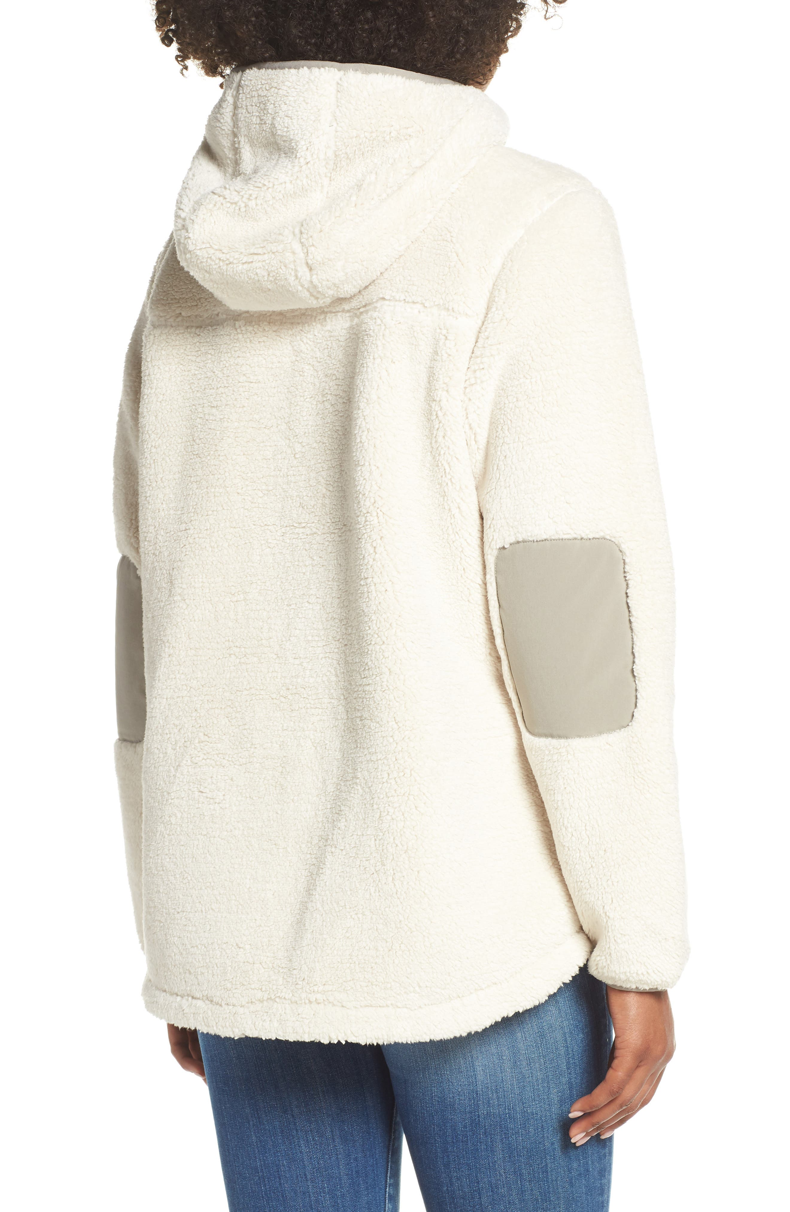 THE NORTH FACE, Campshire High Pile Fleece Pullover Hoodie, Alternate thumbnail 2, color, VINTAGE WHITE/ GREY