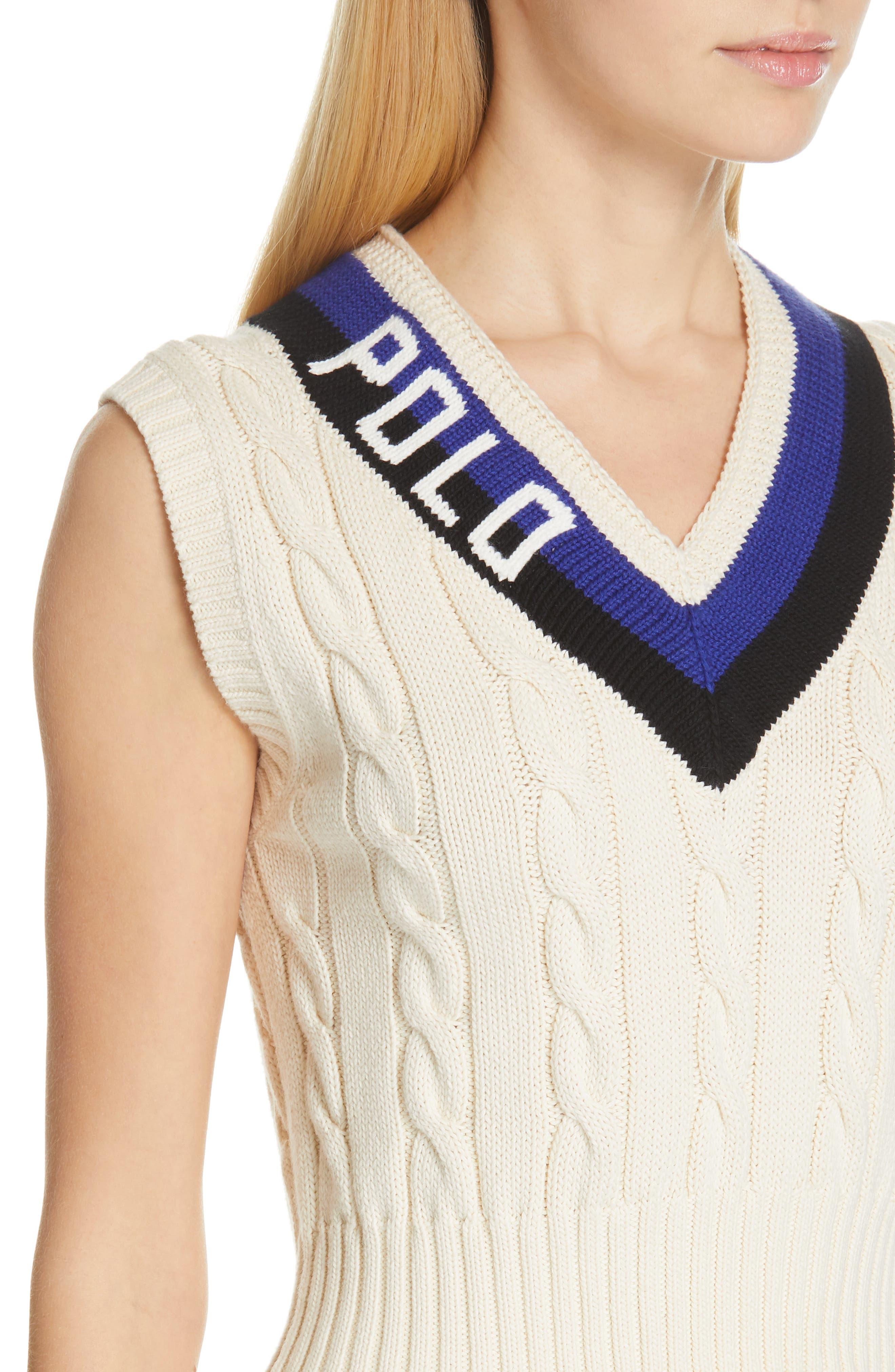 POLO RALPH LAUREN, Cable Sweater Vest, Alternate thumbnail 4, color, CREAM/ BLACK/ ROYAL