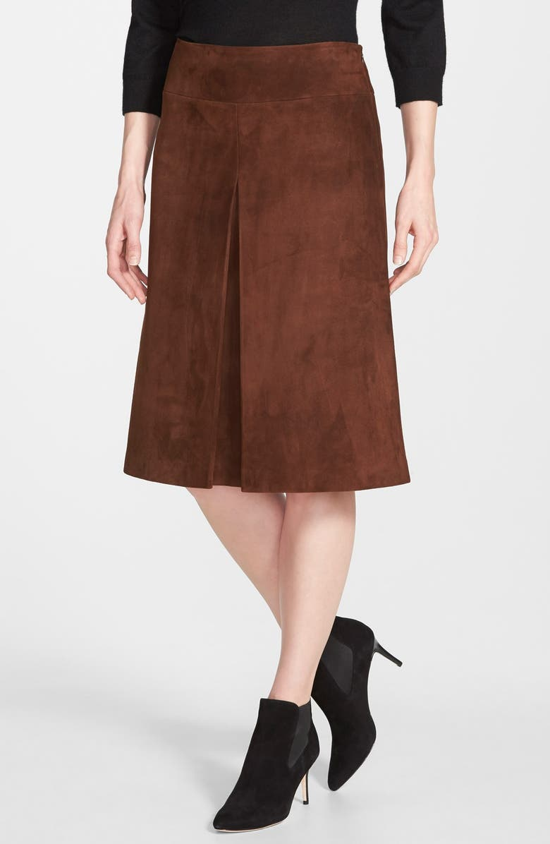 26fe0ffa7 NORDSTROM COLLECTION Pleat Front Suede Skirt, Main, color, 210