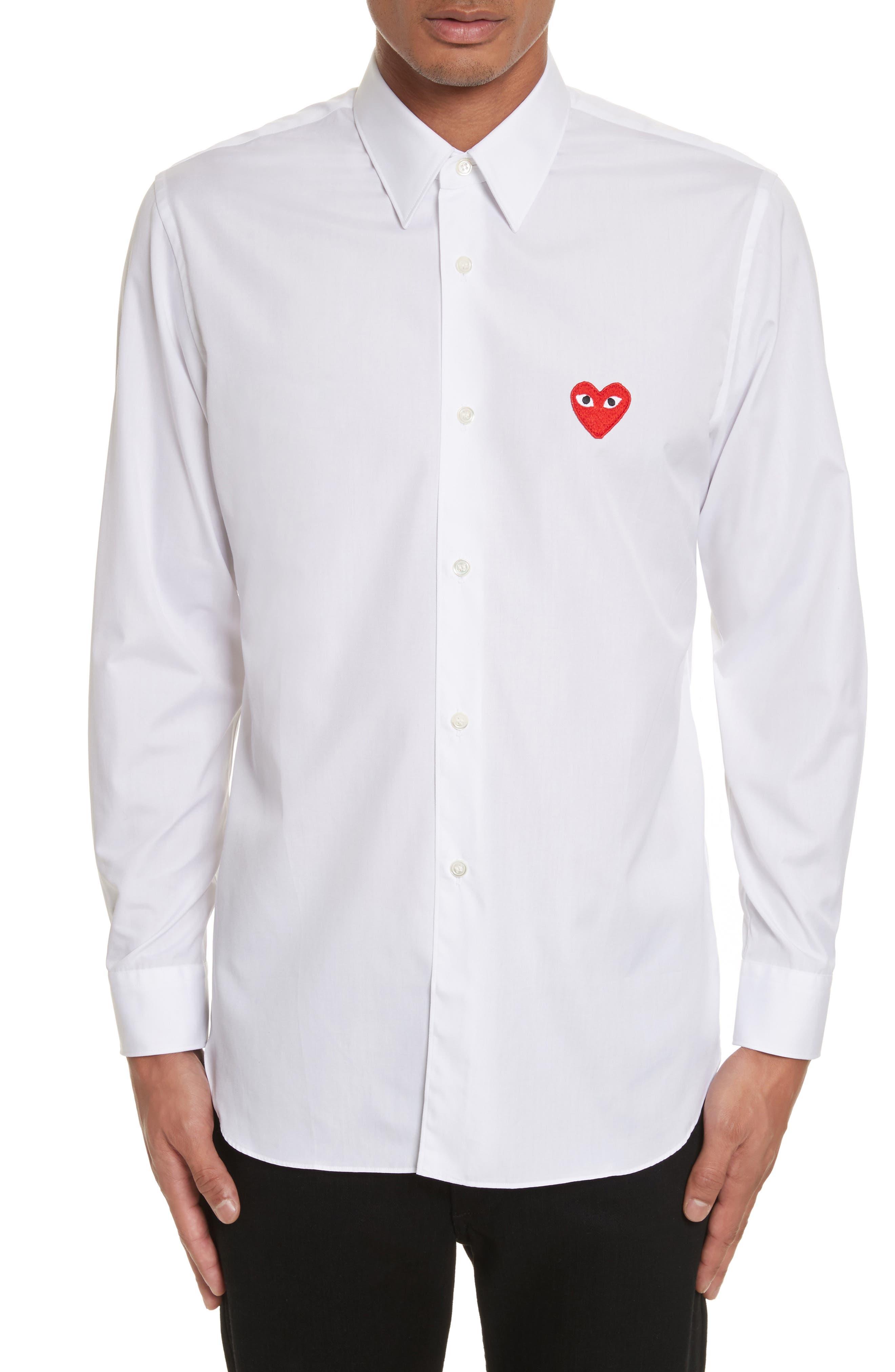 COMME DES GARÇONS PLAY Woven Cotton Shirt, Main, color, WHITE