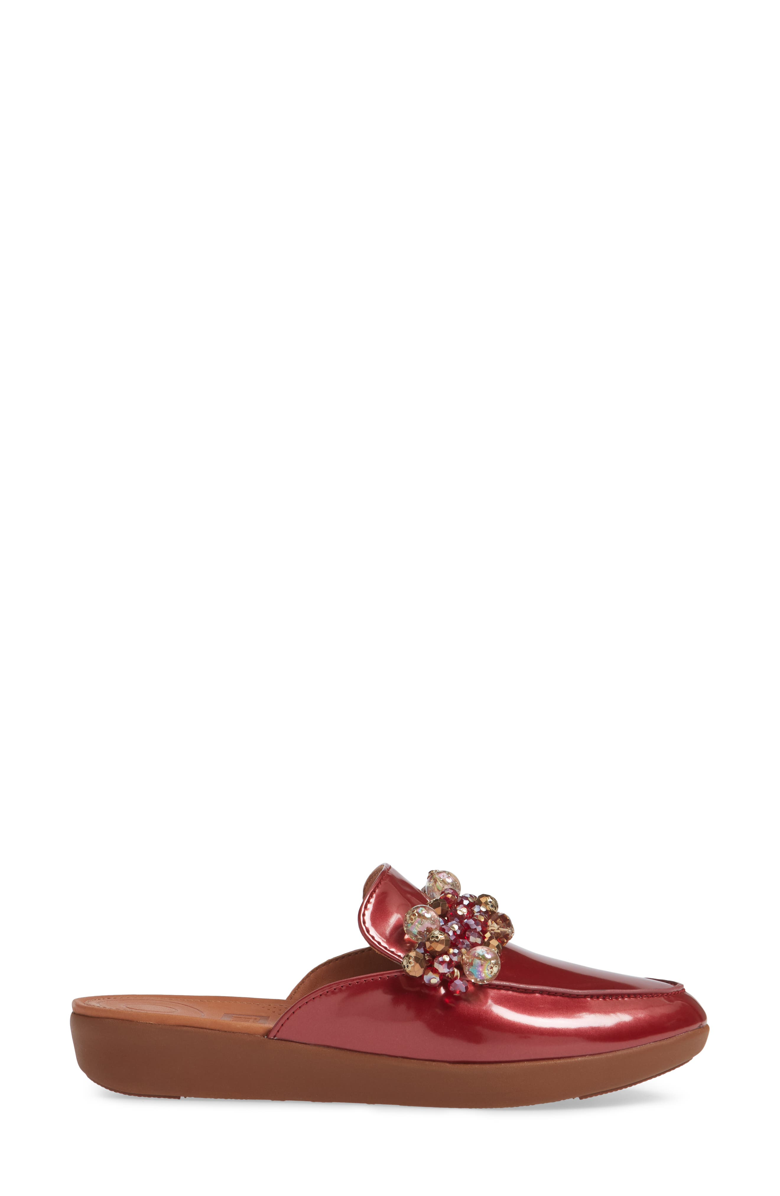 FITFLOP, Serene Beaded Mule, Alternate thumbnail 3, color, FIRE RED PATENT LEATHER