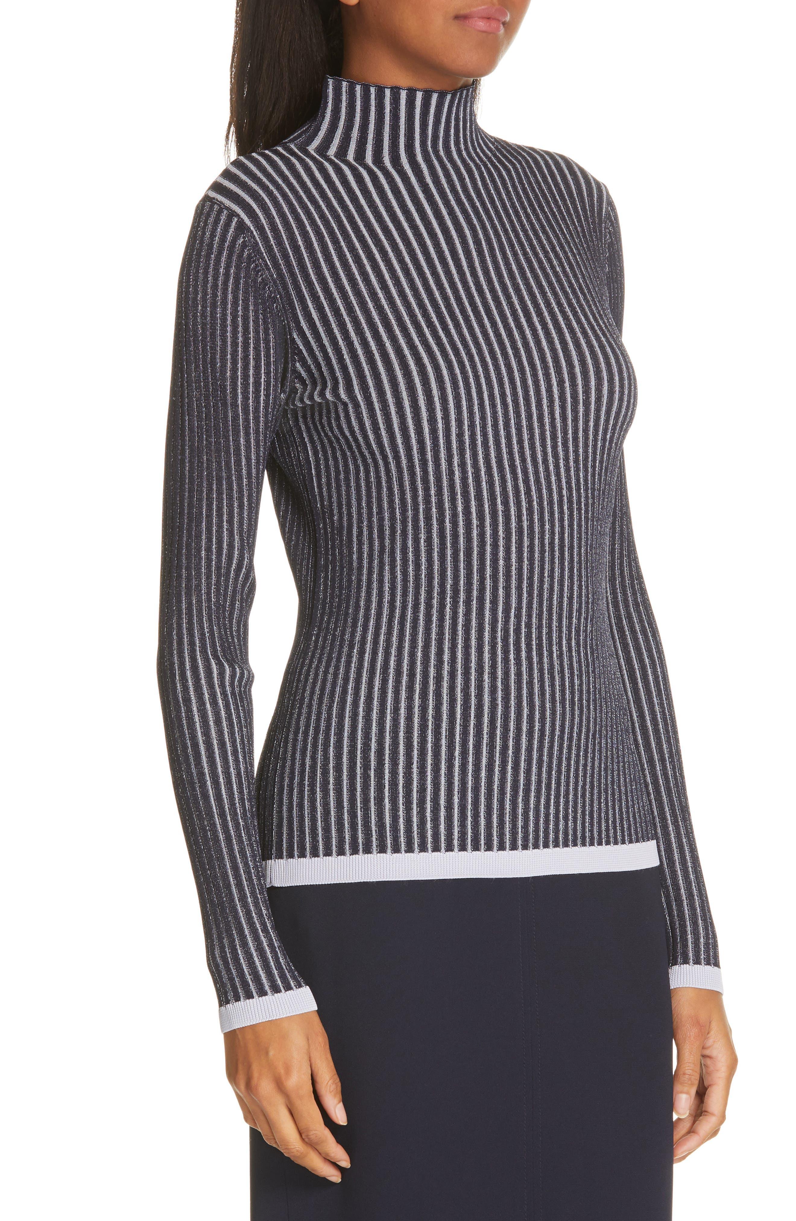 LEWIT, Stripe Ribbed Mock Neck Sweater, Alternate thumbnail 4, color, NAVY ICELANDIC STRIPE