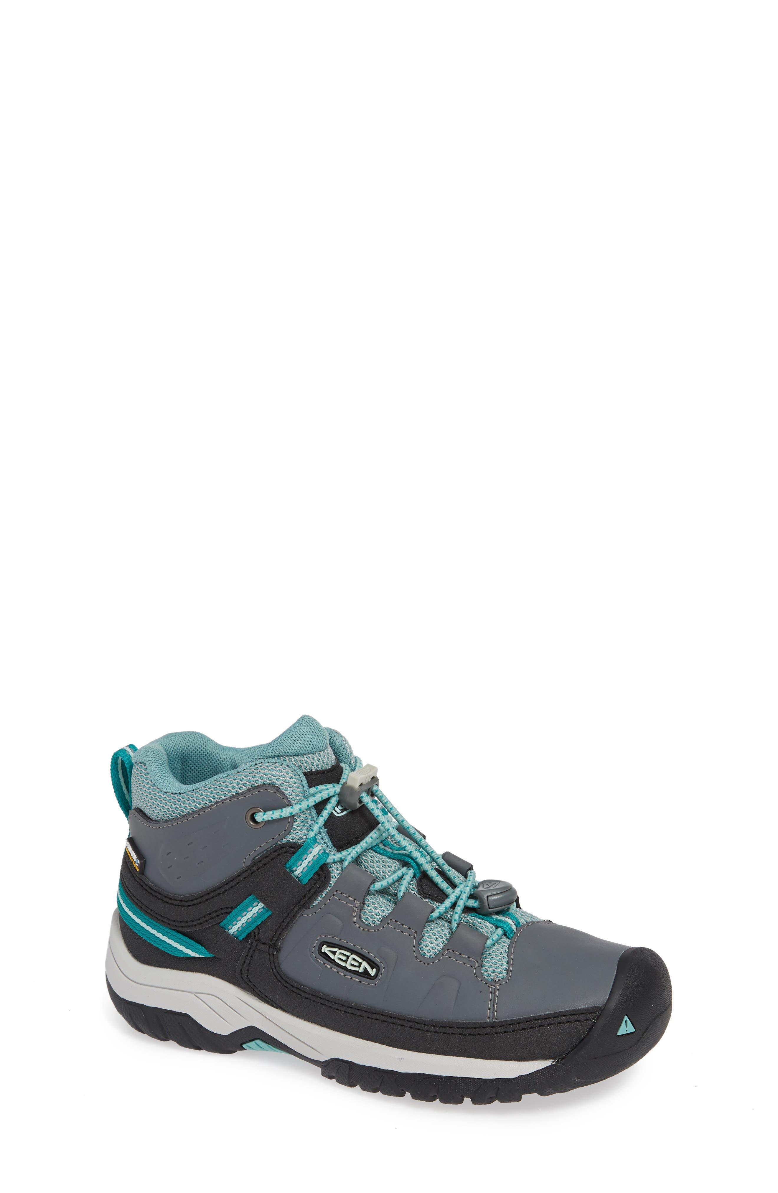 KEEN, Targhee Mid Waterproof Hiking Boot, Main thumbnail 1, color, GREY/ WASABI