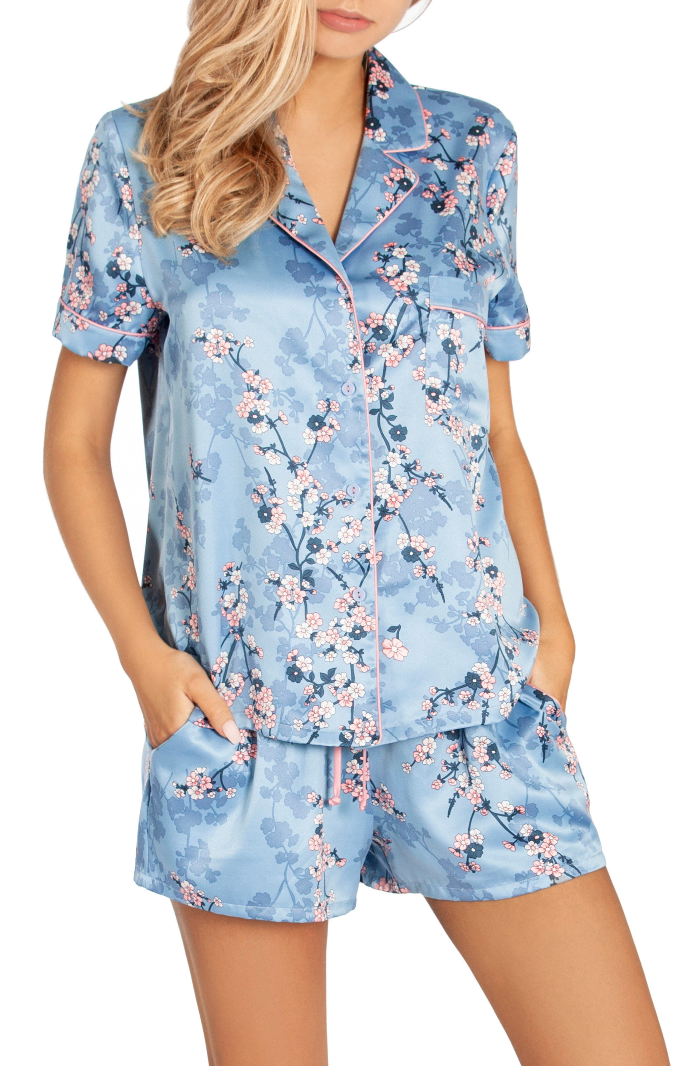 IN BLOOM BY JONQUIL, Satin Short Pajamas, Main thumbnail 1, color, PLUM BLOSSOM