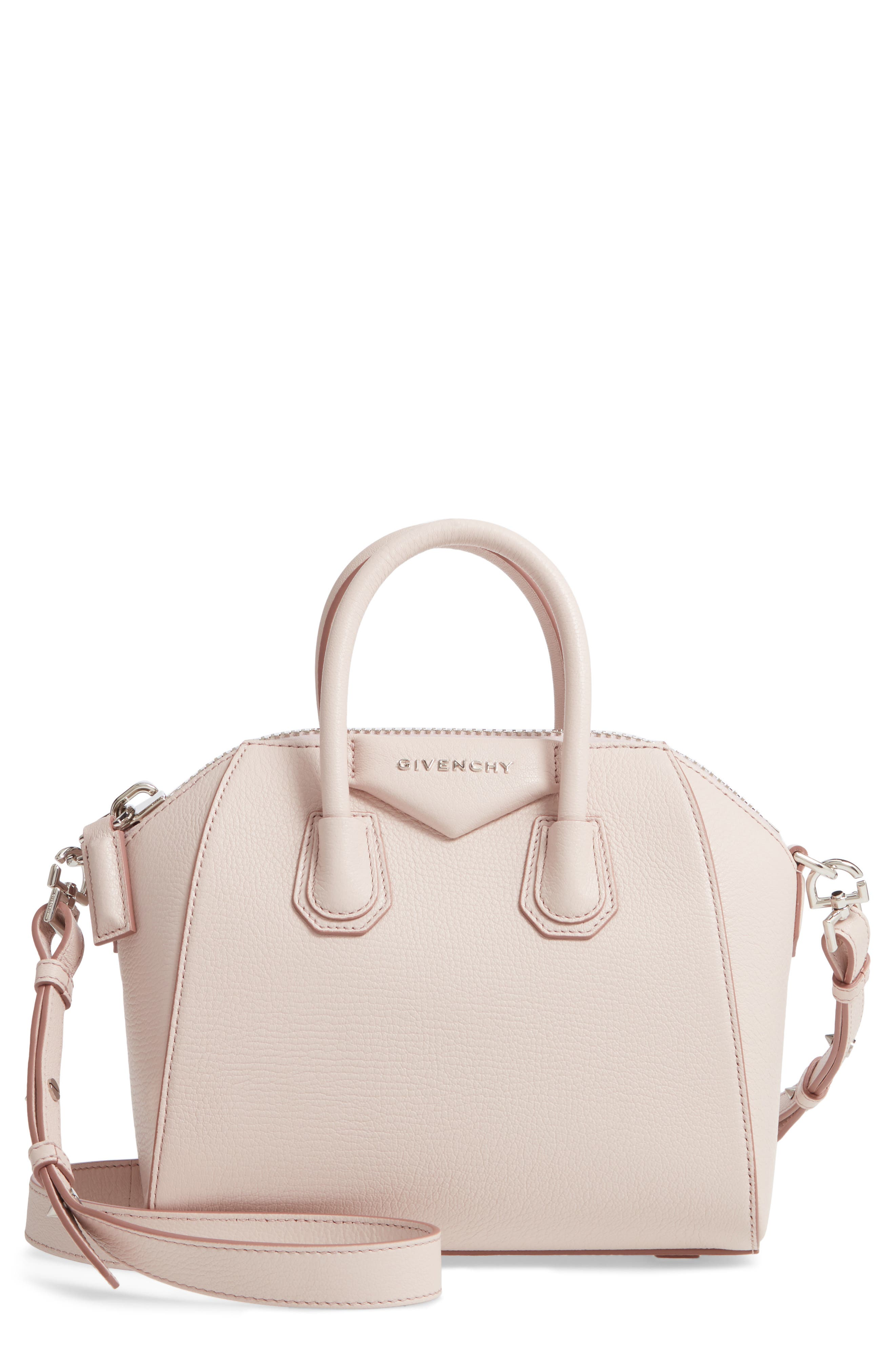 GIVENCHY 'Mini Antigona' Sugar Leather Satchel, Main, color, PALE PINK