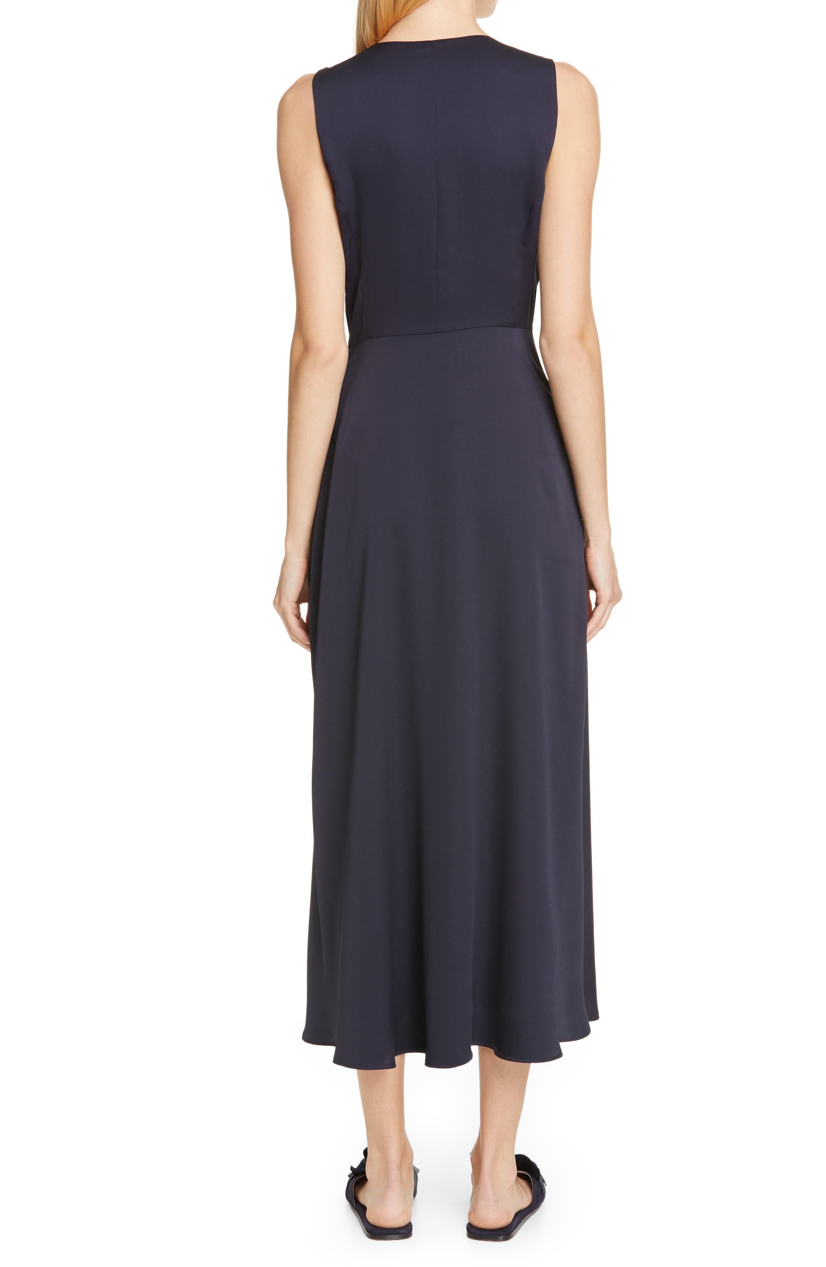 LAFAYETTE 148 NEW YORK, Ambrosia Tie Waist Midi Dress, Alternate thumbnail 2, color, INK