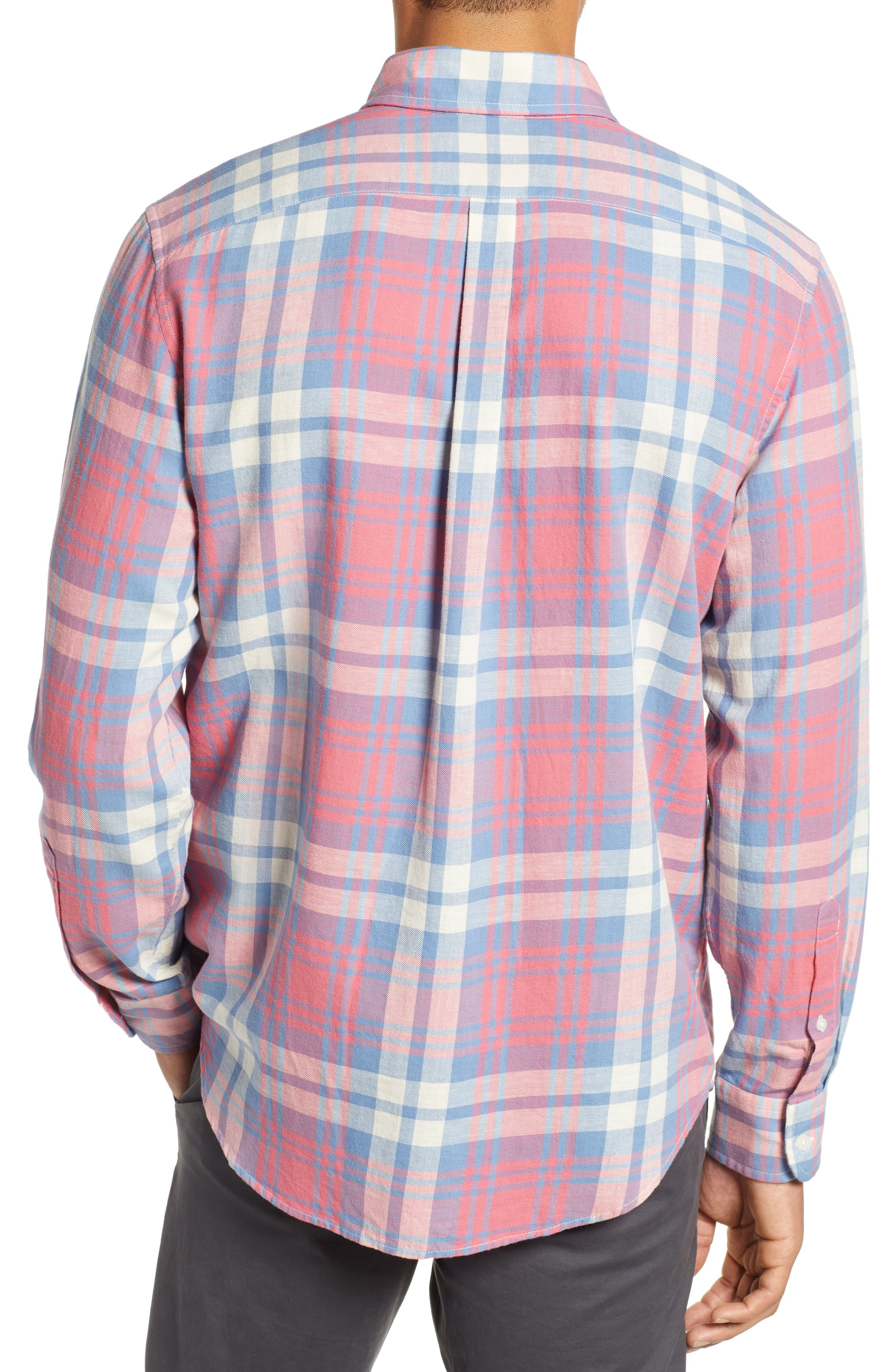 VINEYARD VINES, Kings Point Slim Fit Tucker Sport Shirt, Alternate thumbnail 3, color, LOBSTER REEF