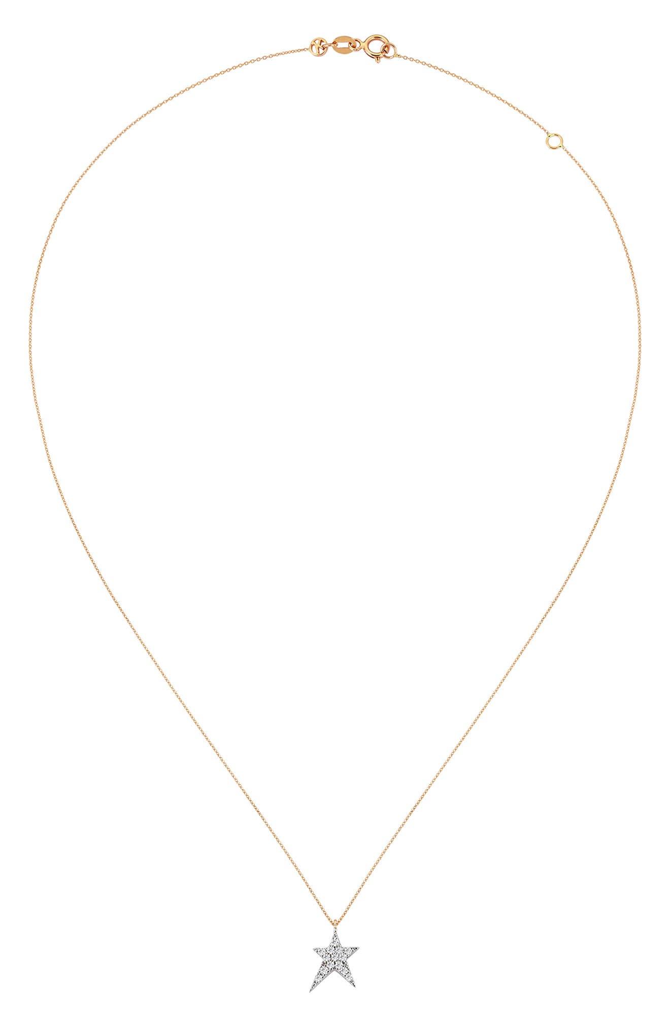 KISMET BY MILKA, Struck Star Diamond Necklace, Alternate thumbnail 2, color, 712