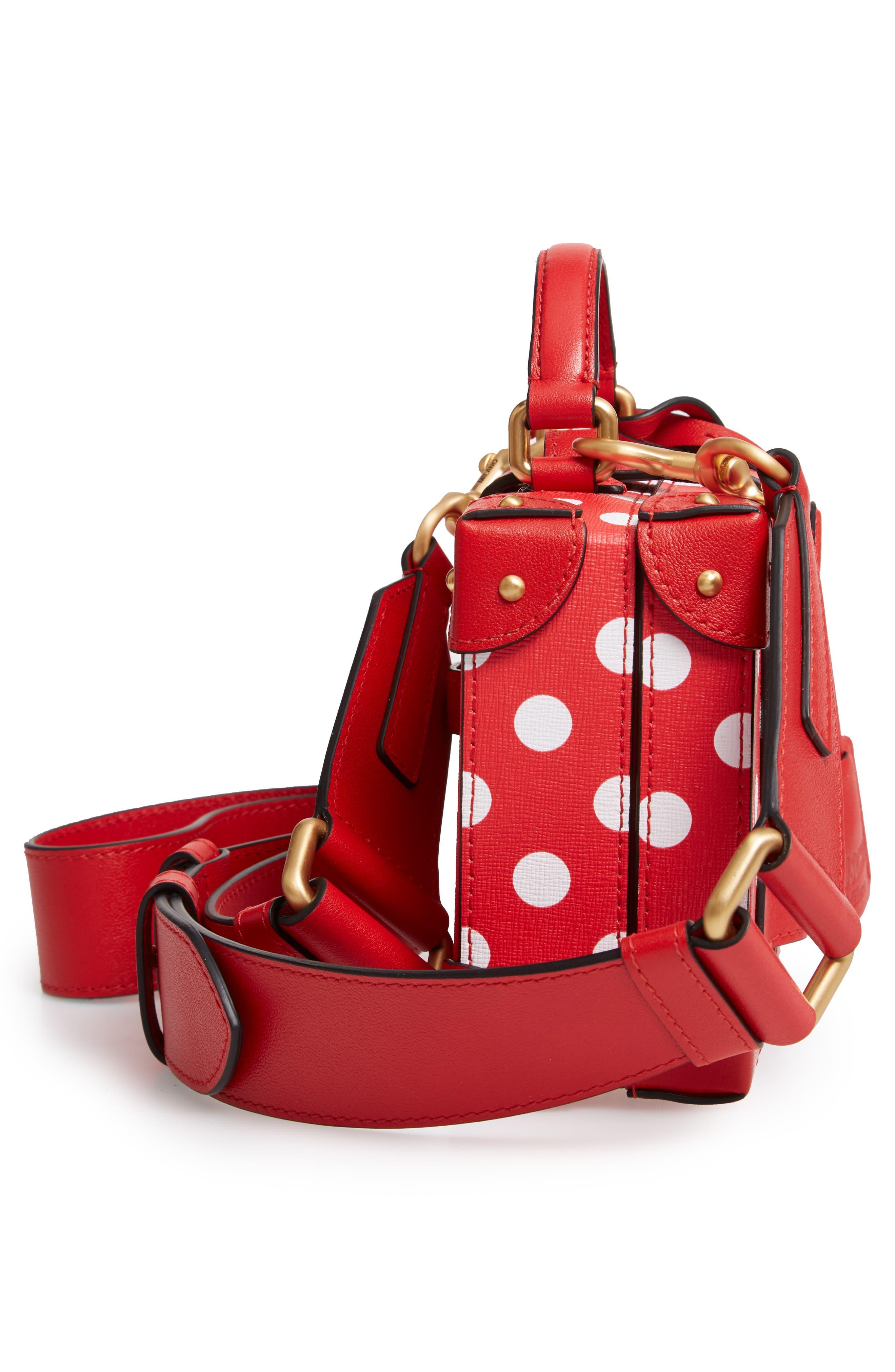 MOSCHINO, Polka Dot Box Leather Crossbody Bag, Alternate thumbnail 5, color, RED
