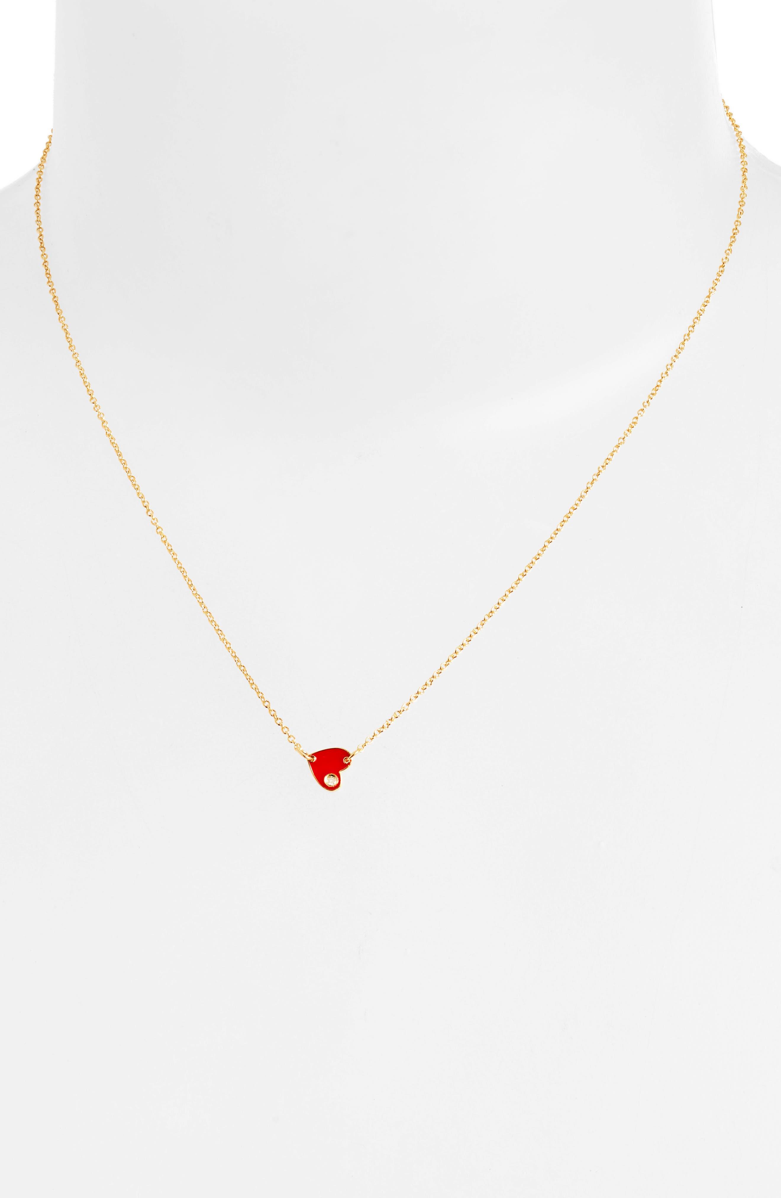 JENNIFER ZEUNER, Mia Mini Diamond Pendant Necklace, Alternate thumbnail 2, color, RED ENAMEL/GOLD VERMEIL