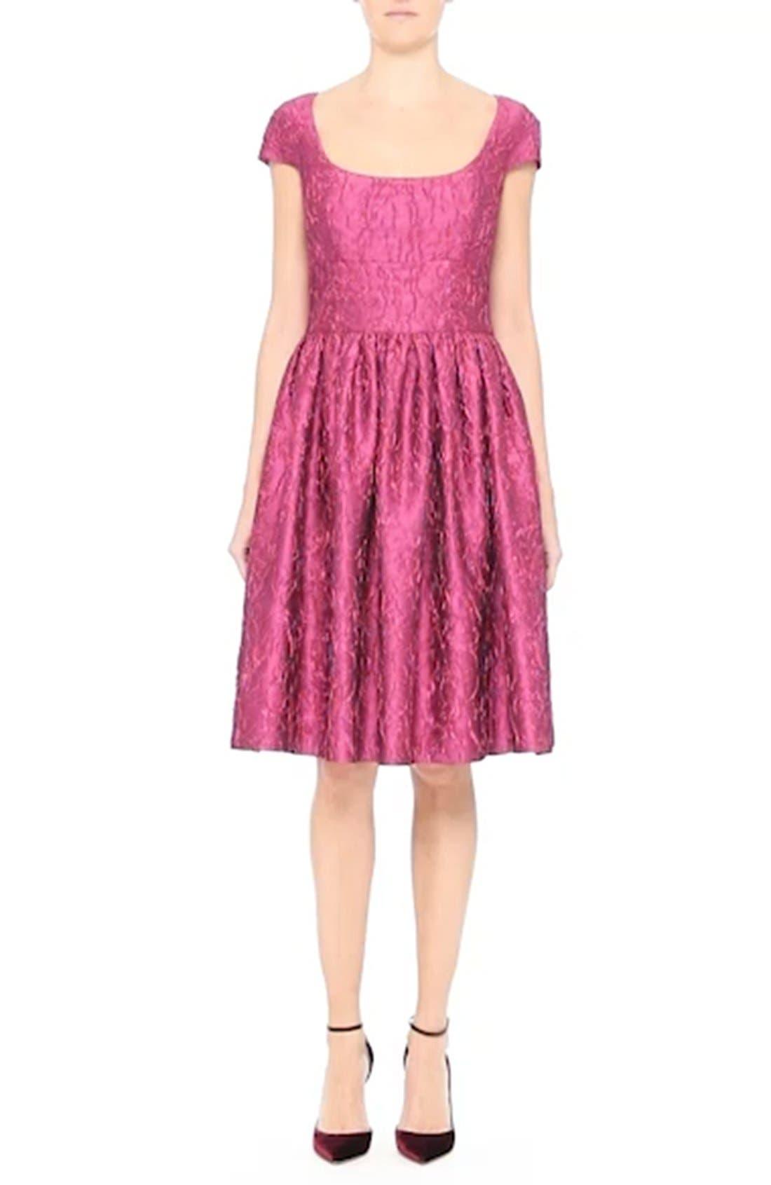 BADGLEY MISCHKA COUTURE., Badgley Mischka Couture Cap Sleeve Brocade Party Dress, Alternate thumbnail 7, color, 652