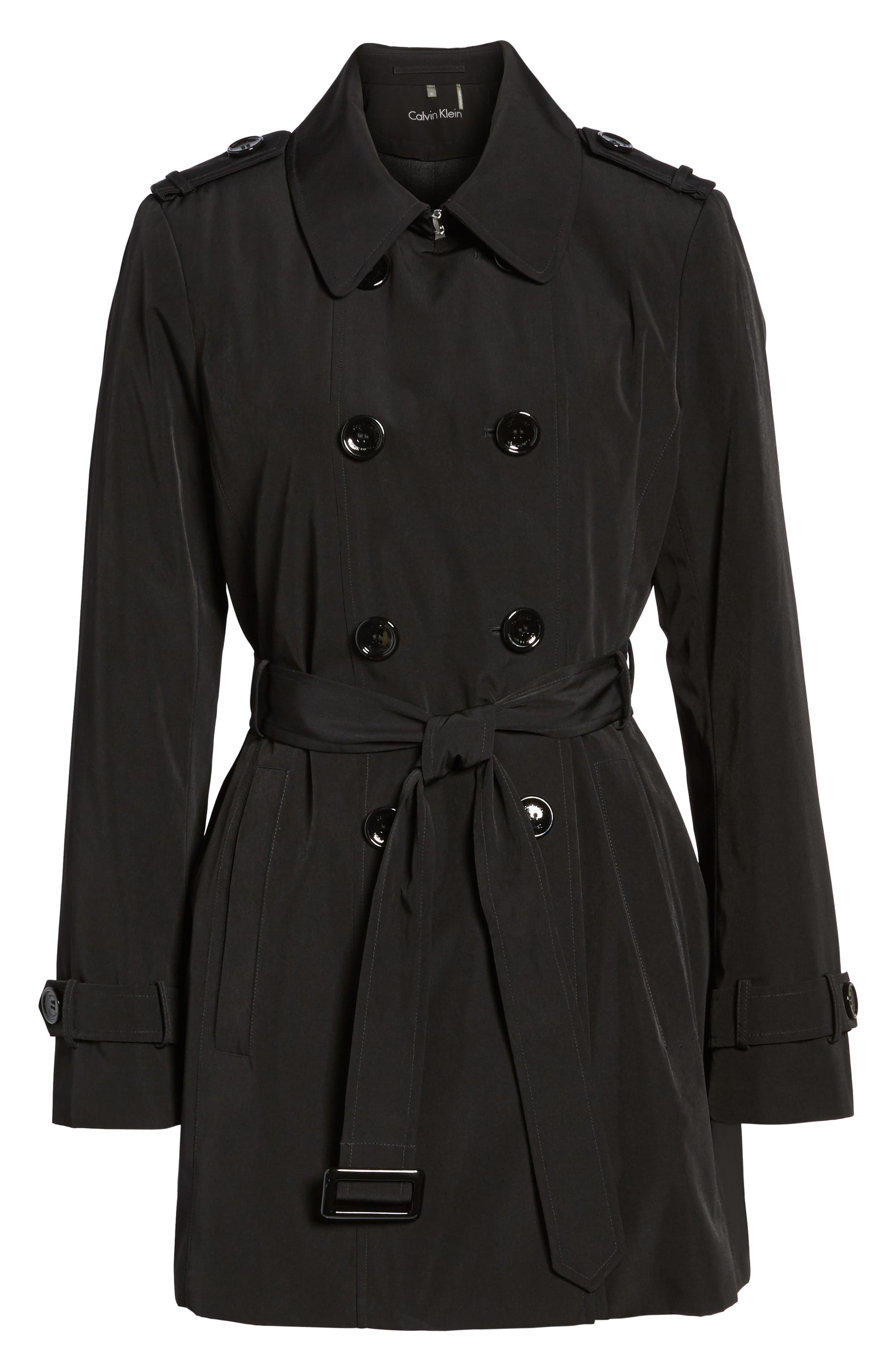 CALVIN KLEIN, Double Breasted Trench Coat, Main thumbnail 1, color, 001