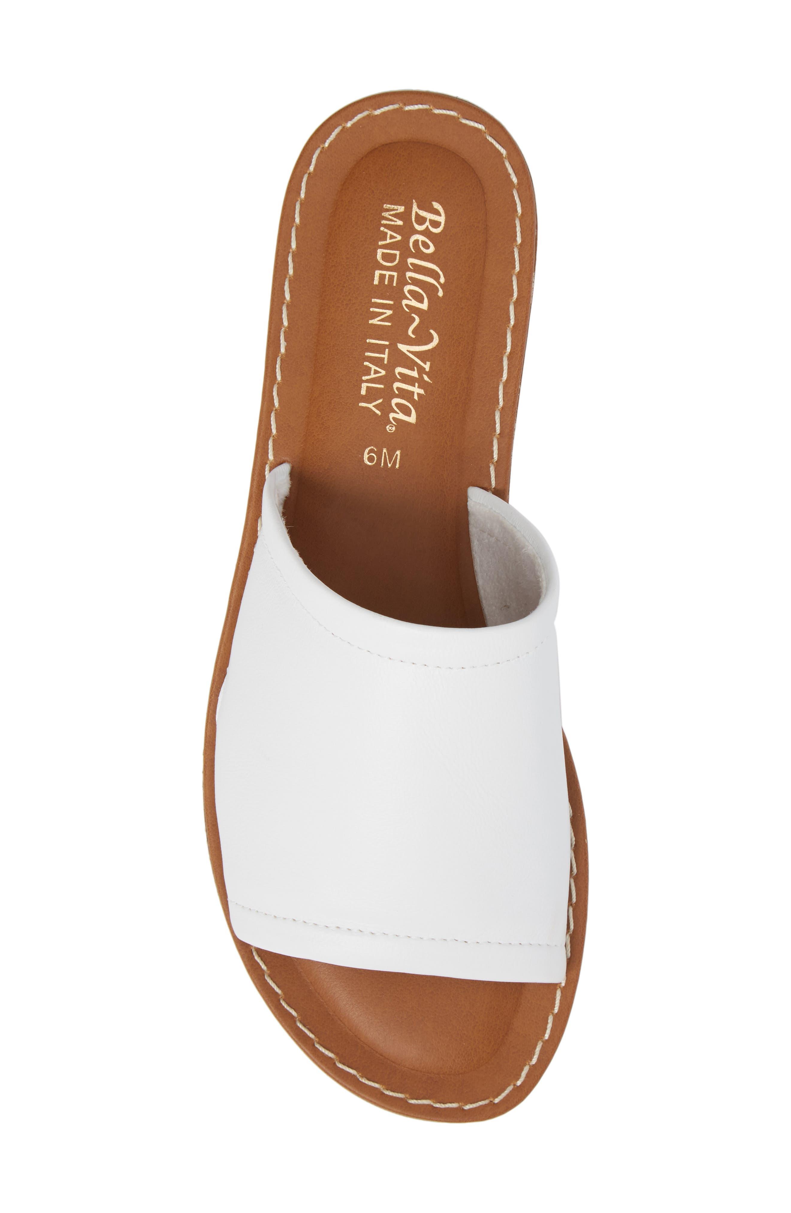 BELLA VITA, Ros Slide Sandal, Alternate thumbnail 5, color, WHITE LEATHER