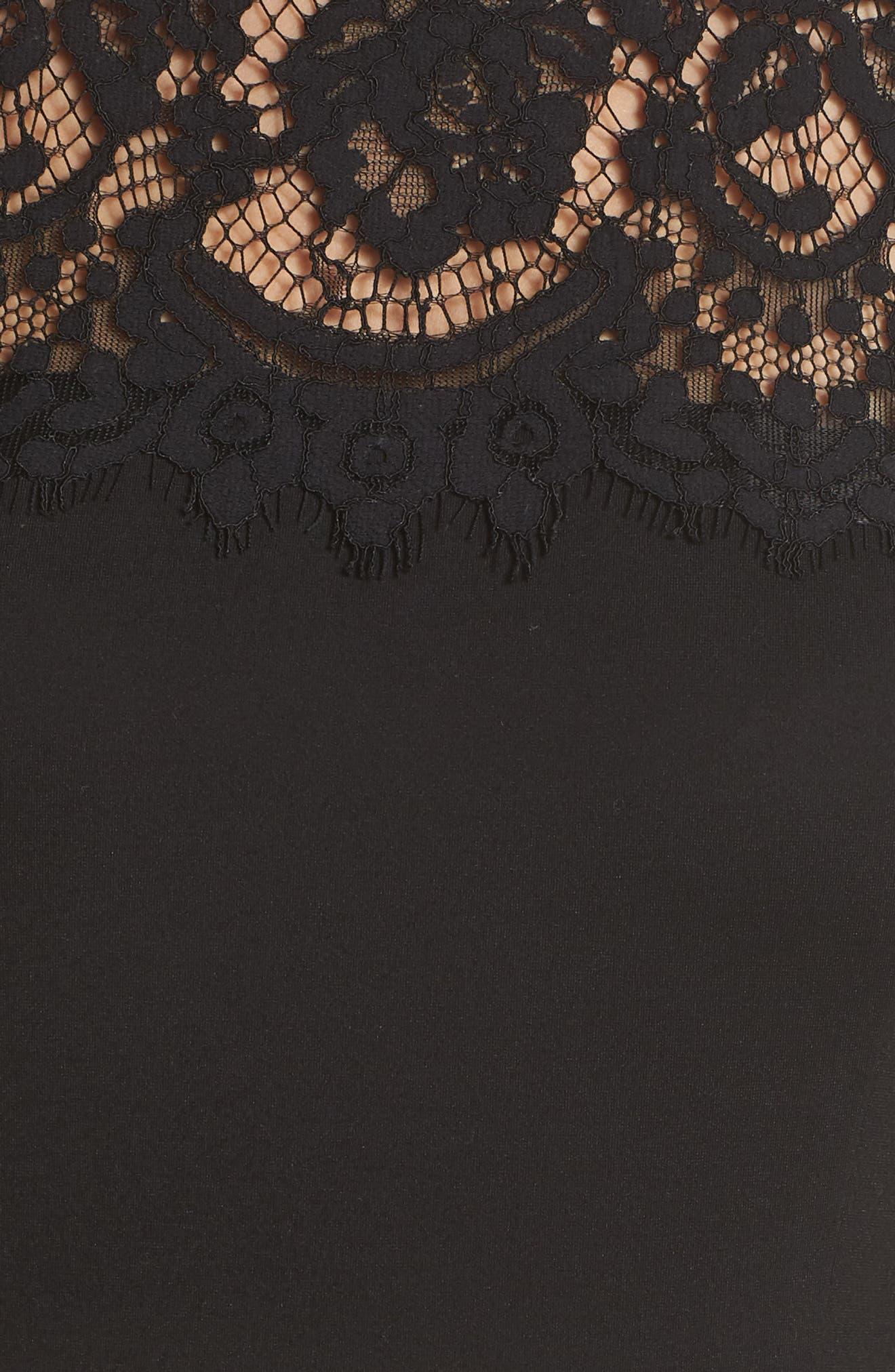 CHARLES HENRY, Lace Yoke Sheath Dress, Alternate thumbnail 6, color, 001