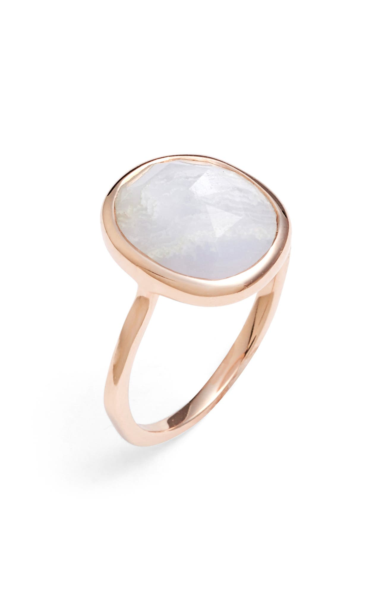 MONICA VINADER, Siren Medium Semiprecious Stone Stacking Ring, Alternate thumbnail 2, color, ROSE GOLD/ BLUE LACE AGATE