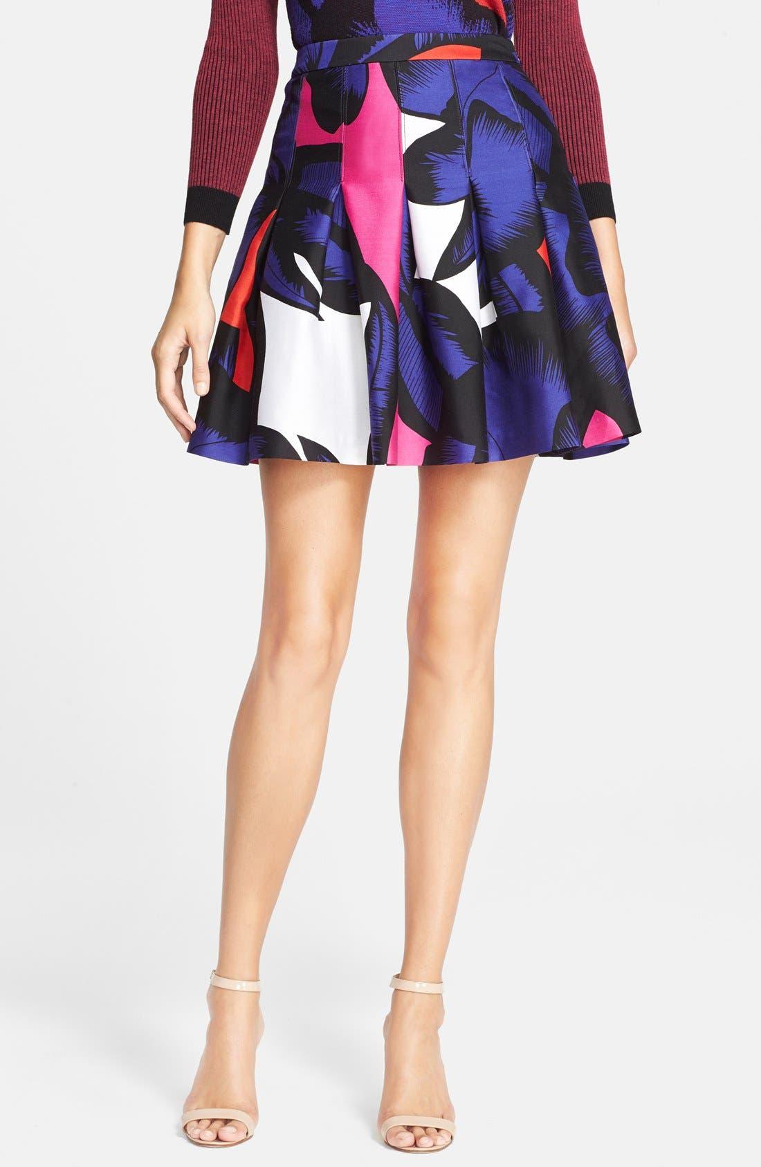 DIANE VON FURSTENBERG, 'Gemma' Print Pleated Skirt, Main thumbnail 1, color, 500