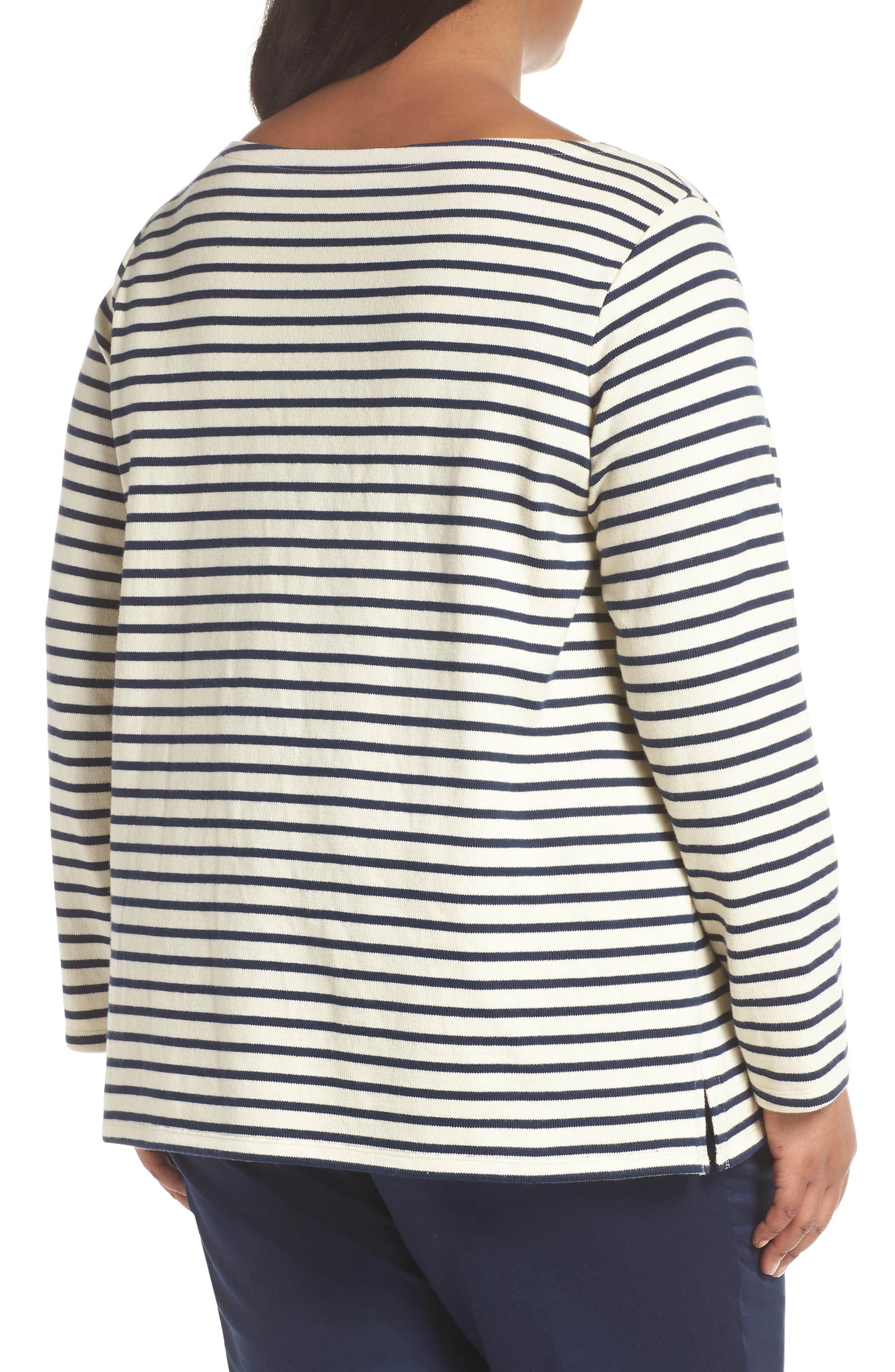 EILEEN FISHER, Seaside Stripe Bateau Neck Tunic, Alternate thumbnail 2, color, 103