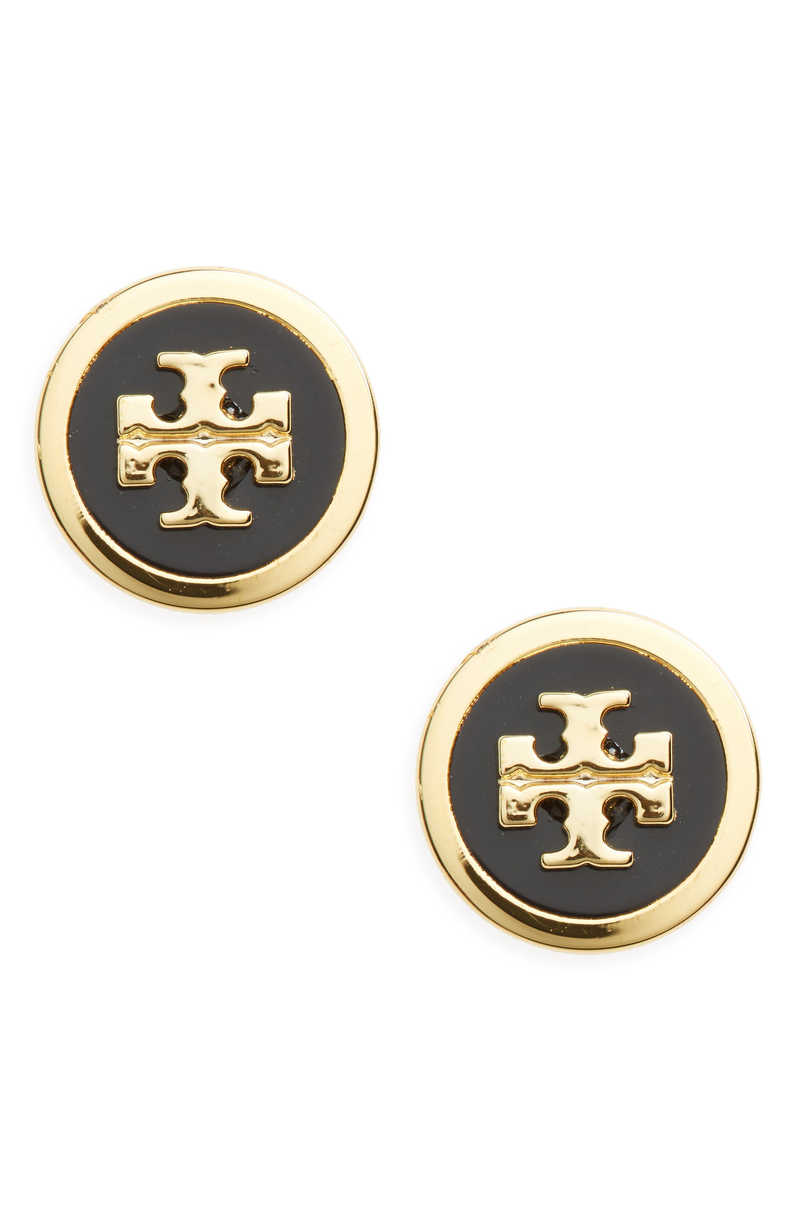 TORY BURCH, Logo Stud Earrings, Main thumbnail 1, color, BLACK / TORY GOLD