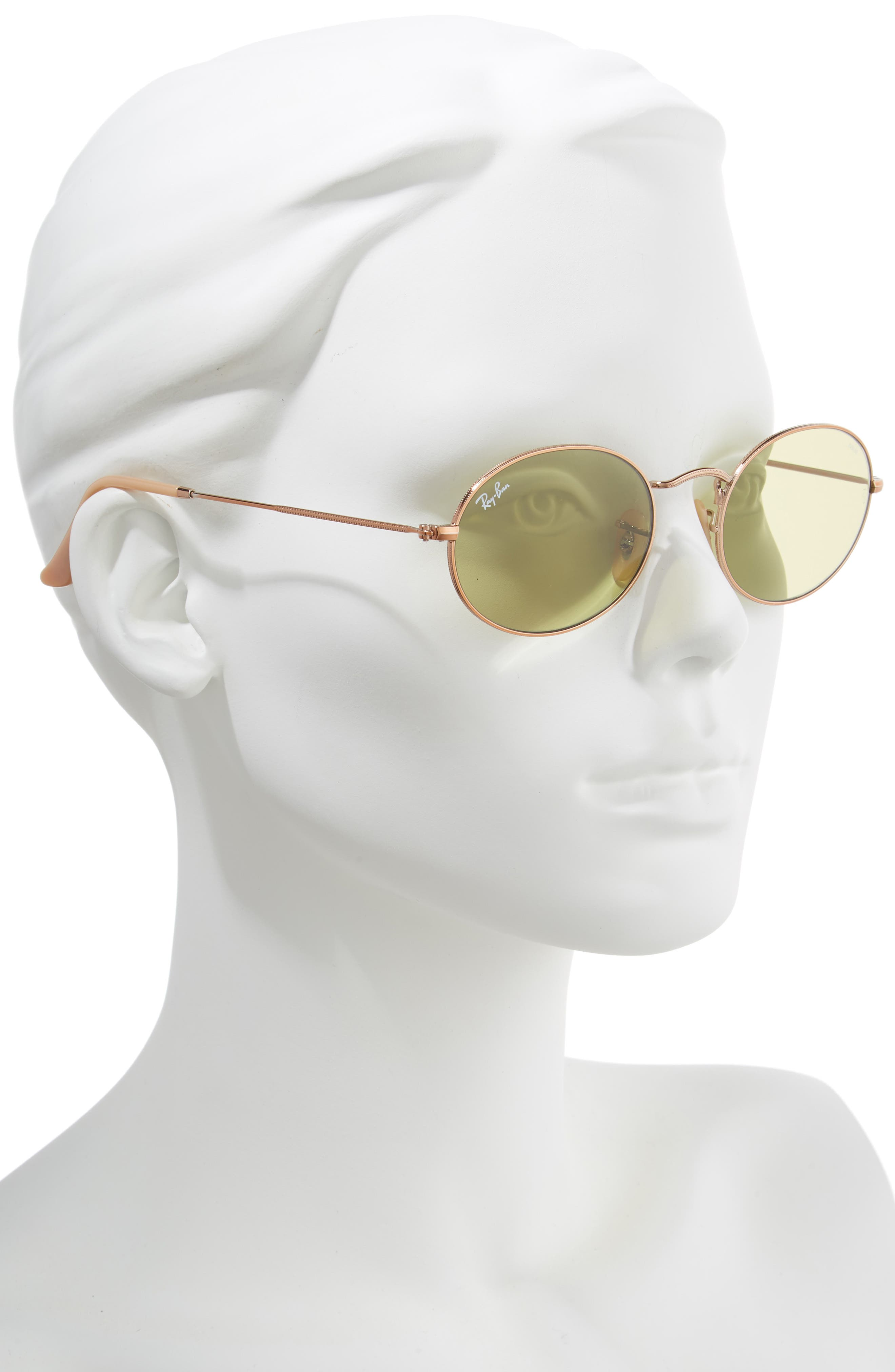 RAY-BAN, Evolve 54mm Polarized Oval Sunglasses, Alternate thumbnail 2, color, GOLD/ GREEN SOLID