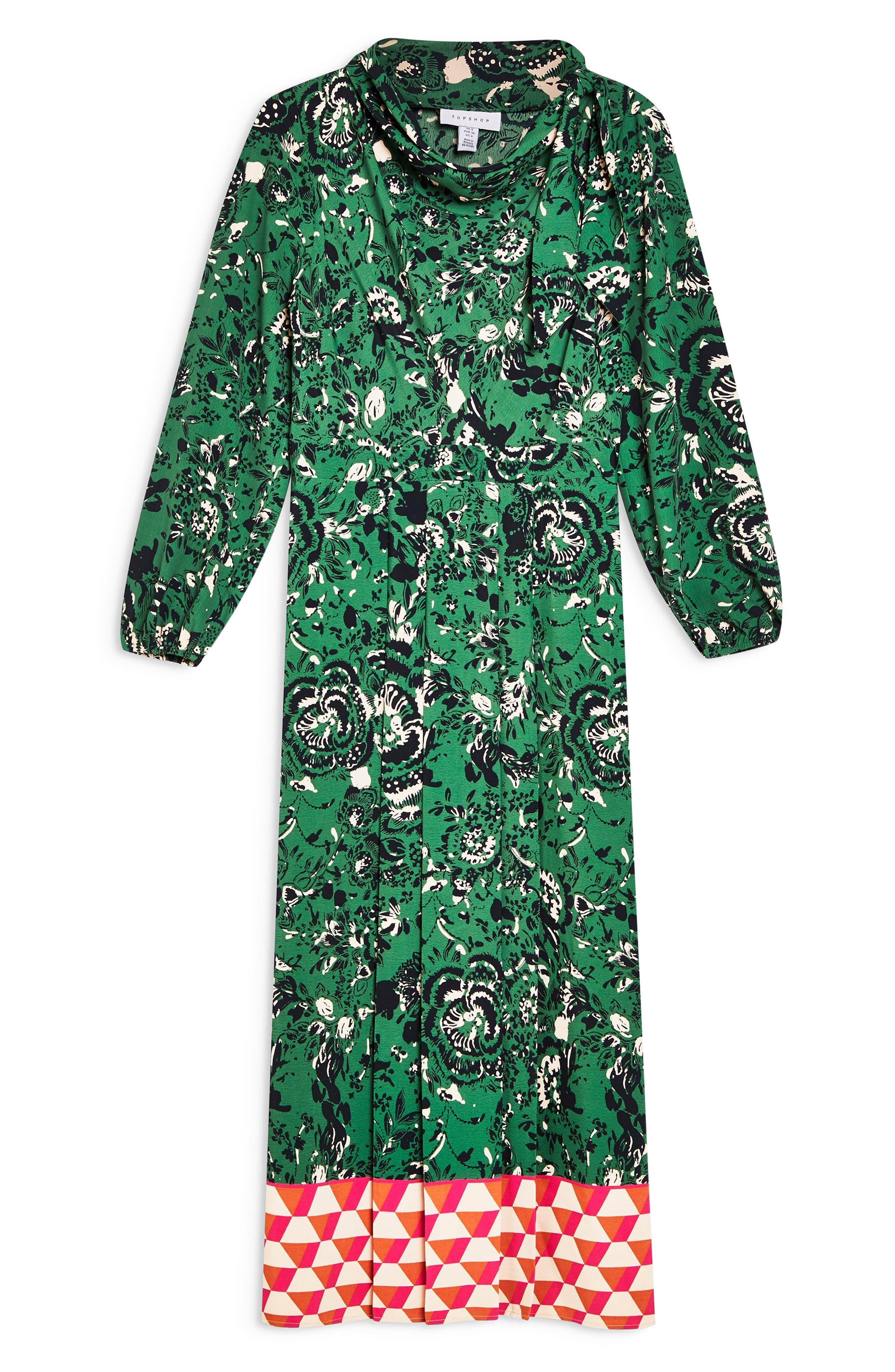 TOPSHOP, Geo Border Tie Neck Midi Dress, Alternate thumbnail 5, color, GREEN MULTI