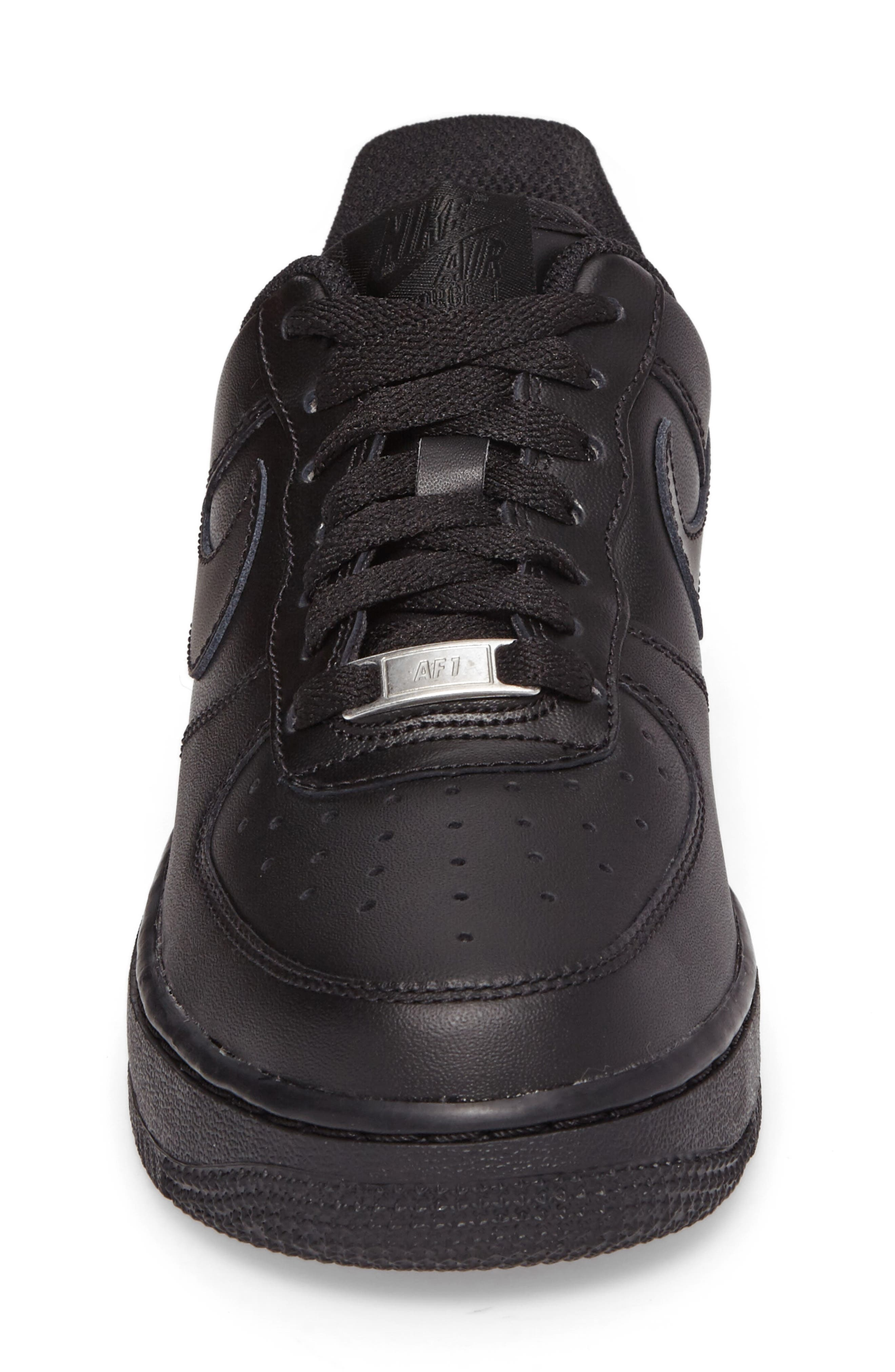 NIKE, 'Air Force 1' Basketball Sneaker, Alternate thumbnail 4, color, BLACK/ BLACK