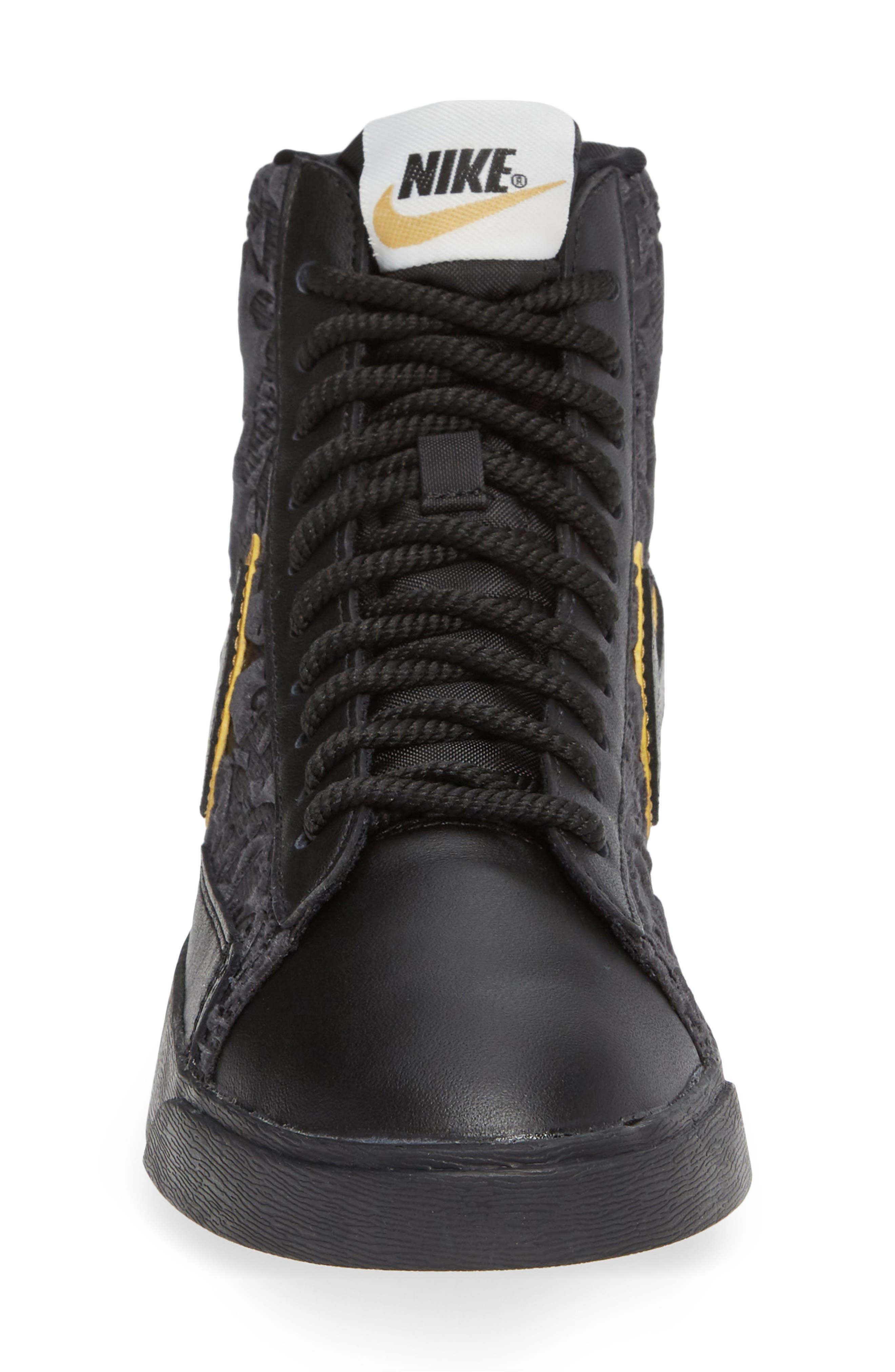 NIKE, Blazer Mid Top Sneaker, Alternate thumbnail 4, color, BLACK/ GOLD/ SUMMIT WHITE